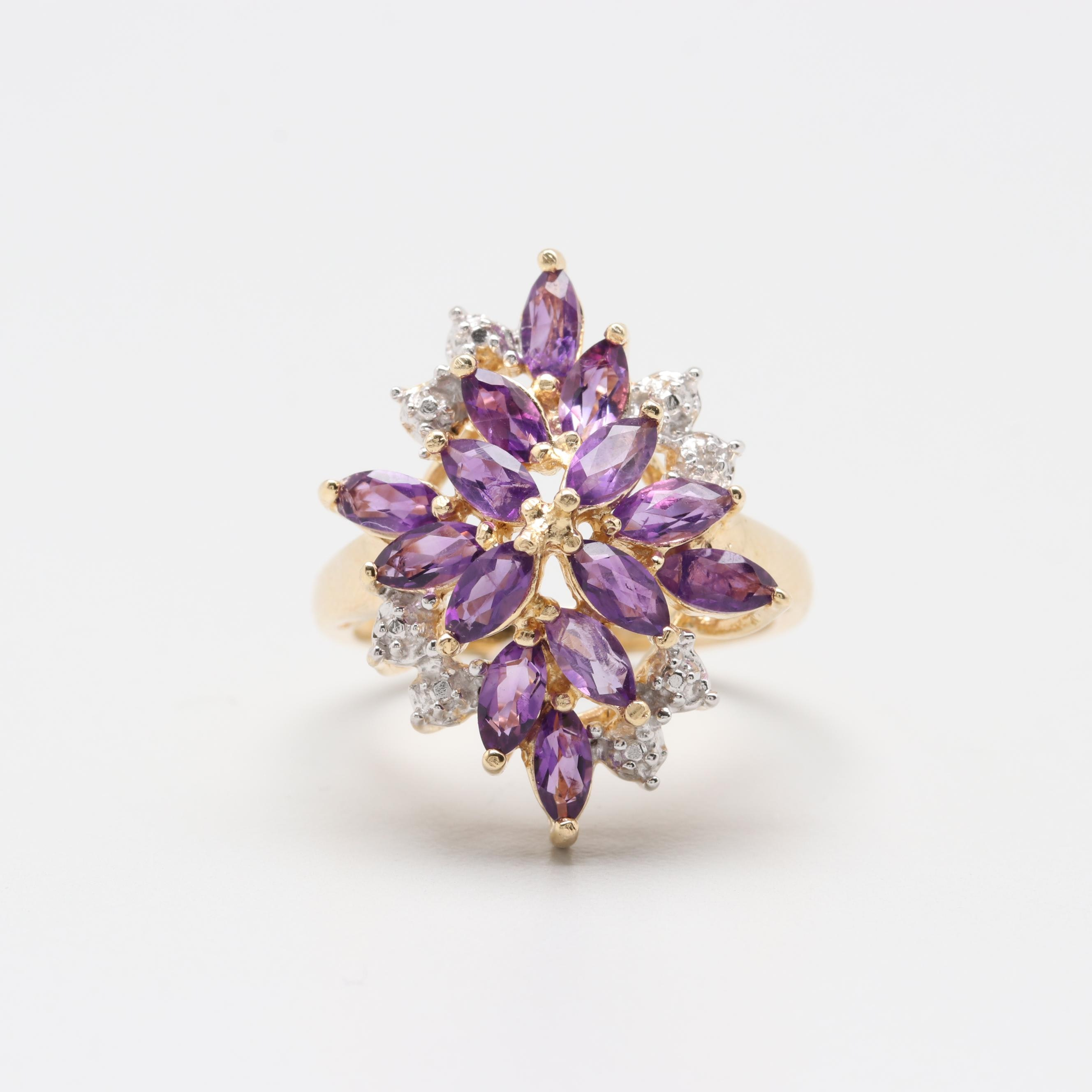 Gold Wash on Sterling Silver Amethyst and Diamond Ring