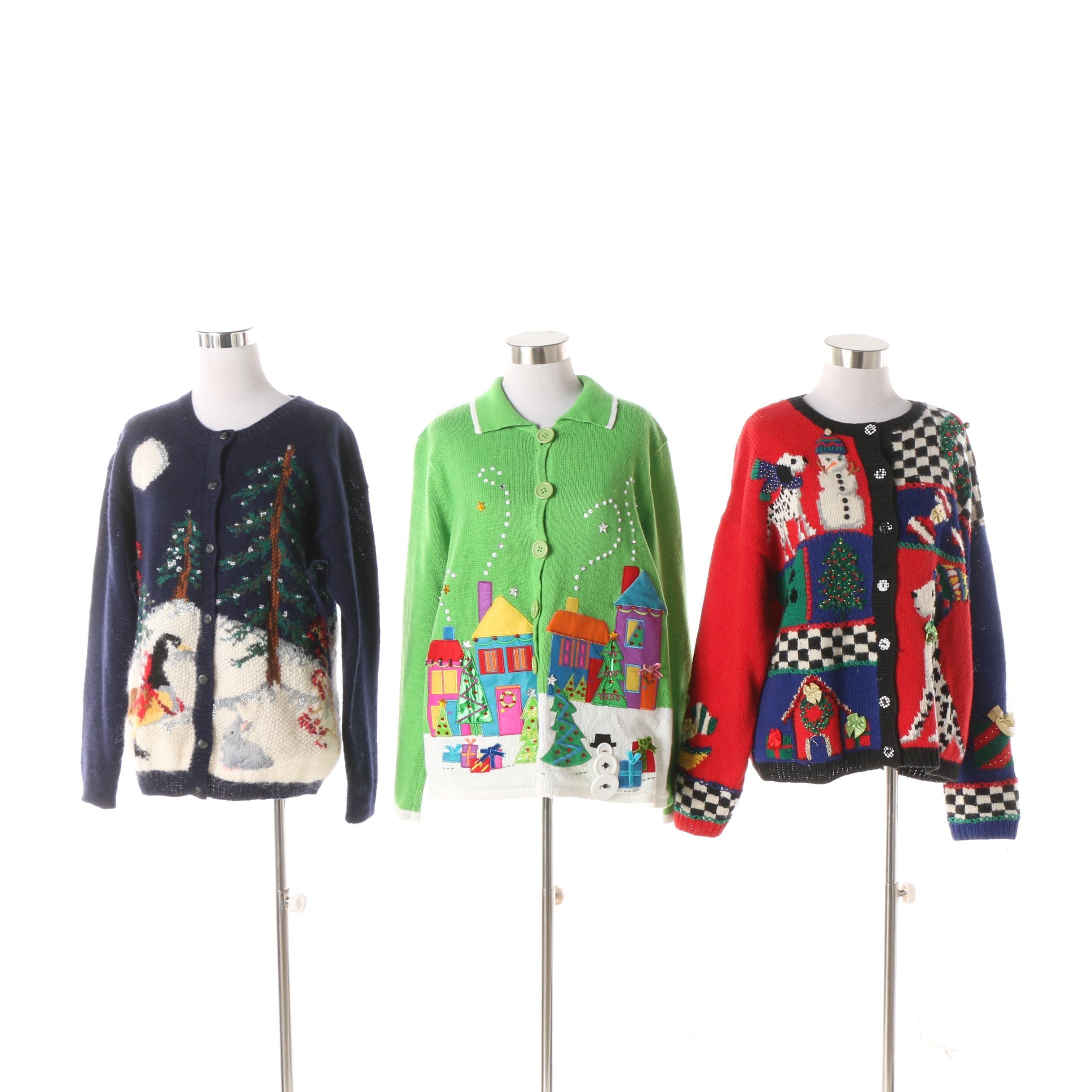 Women's Vintage Christmas Motif Knit Cardigans including Marisa Christina