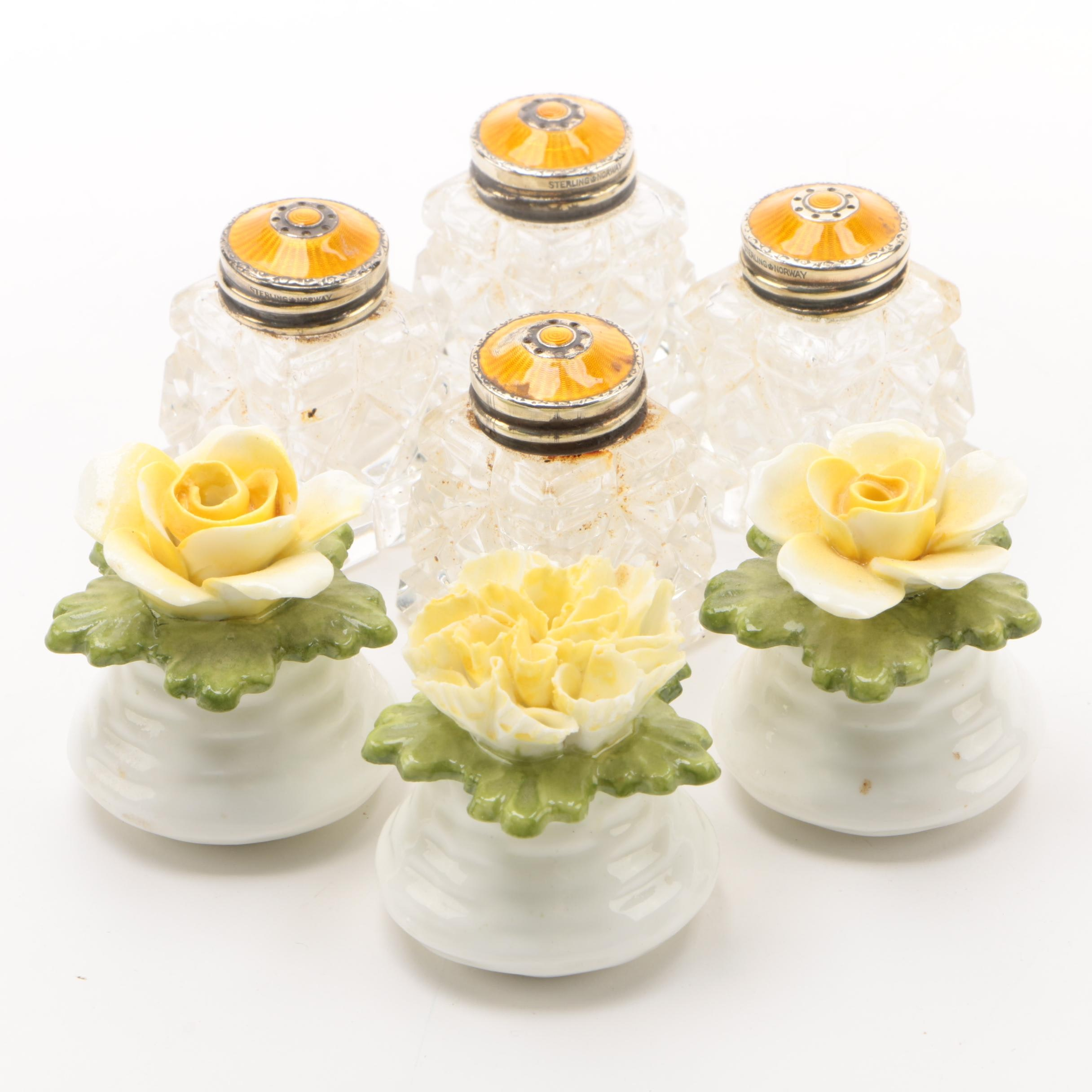 Aynsley Bone China Shakers with Norwegian Enameled Sterling and Glass Shakers