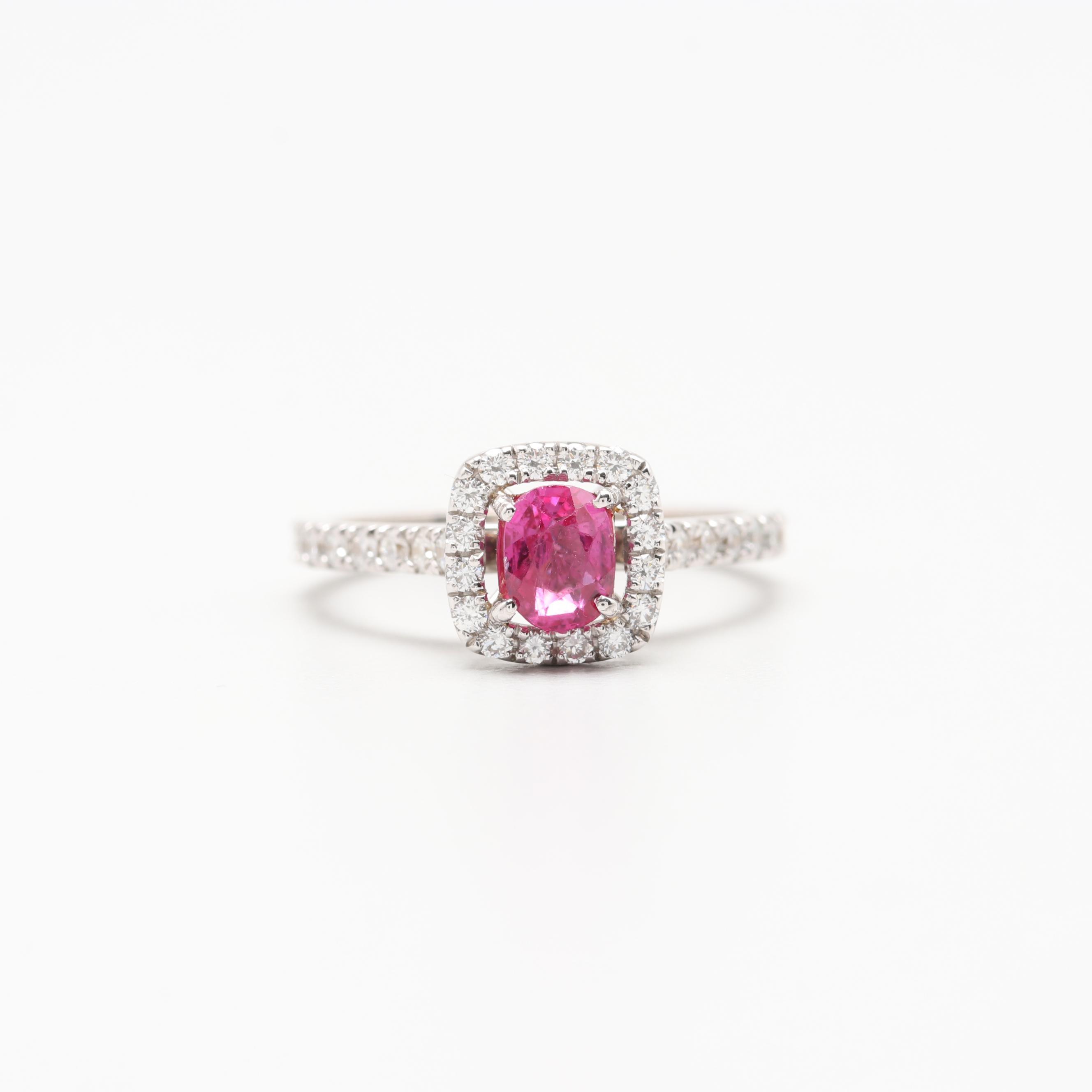 Leibish & Co. 18K White Gold Unheated Pink Sapphire and Diamond Ring