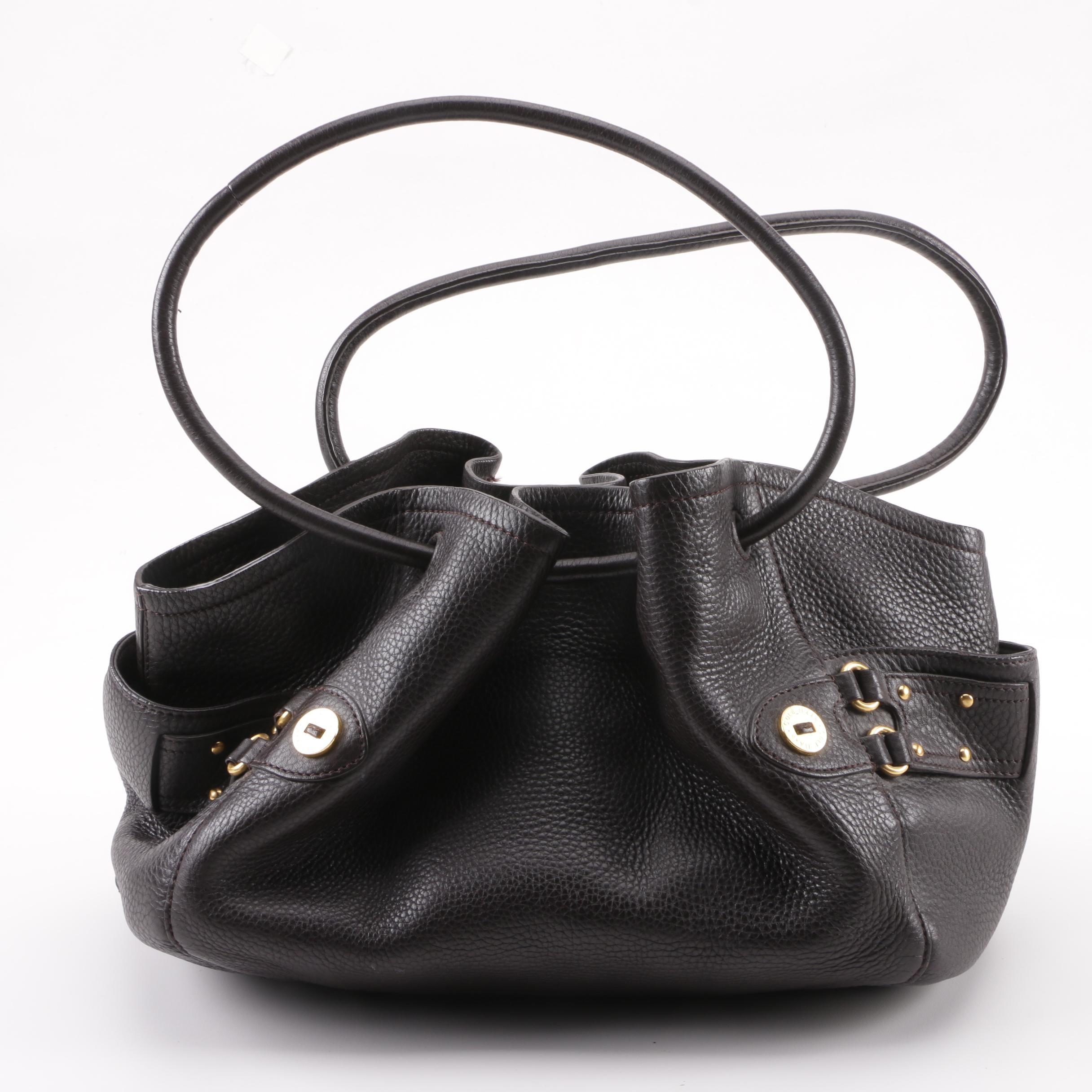 Cole Haan Dark Brown Pebbled Leather Shoulder Bag