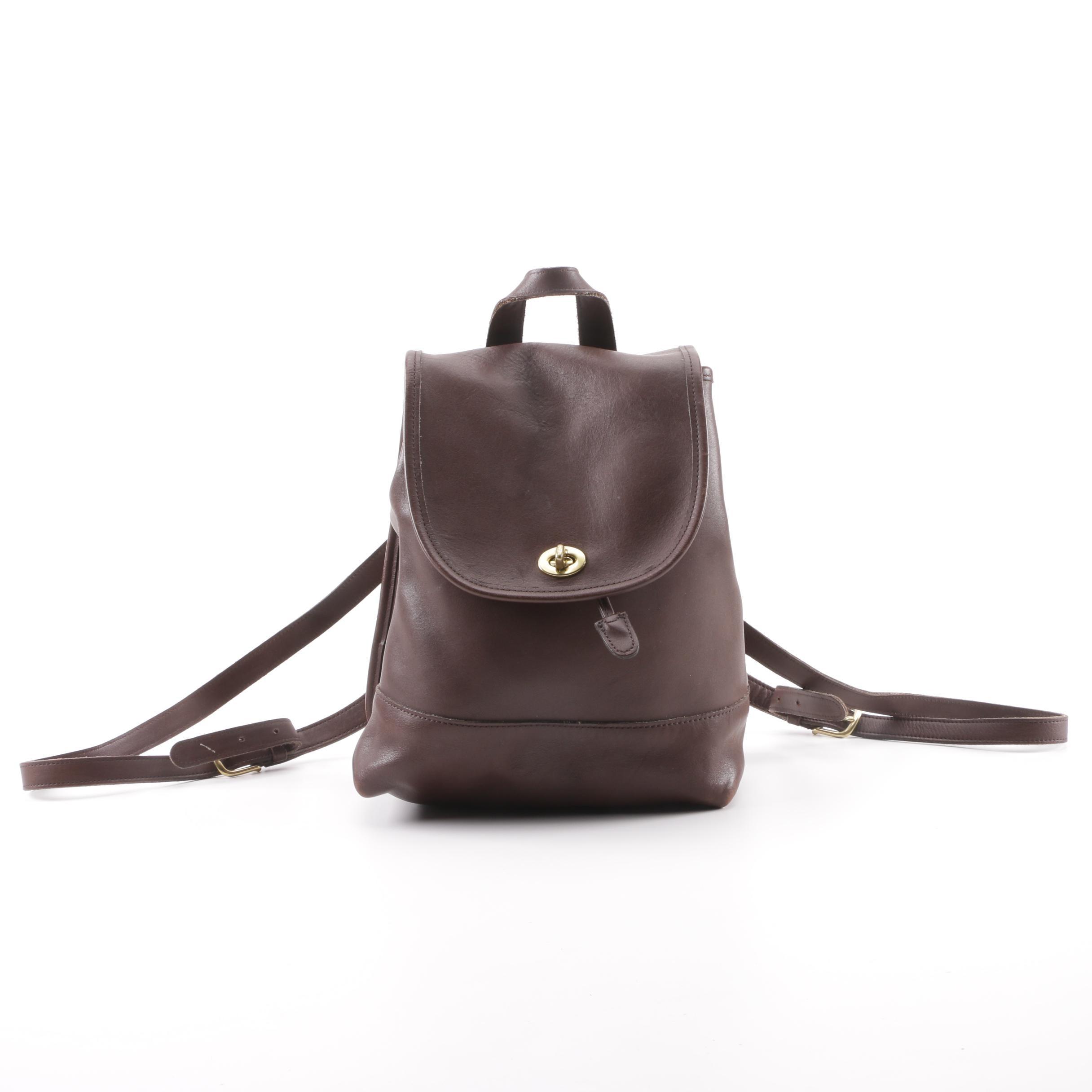 Vintage Coach Brown Leather Turnlock Flap Drawstring Daypack
