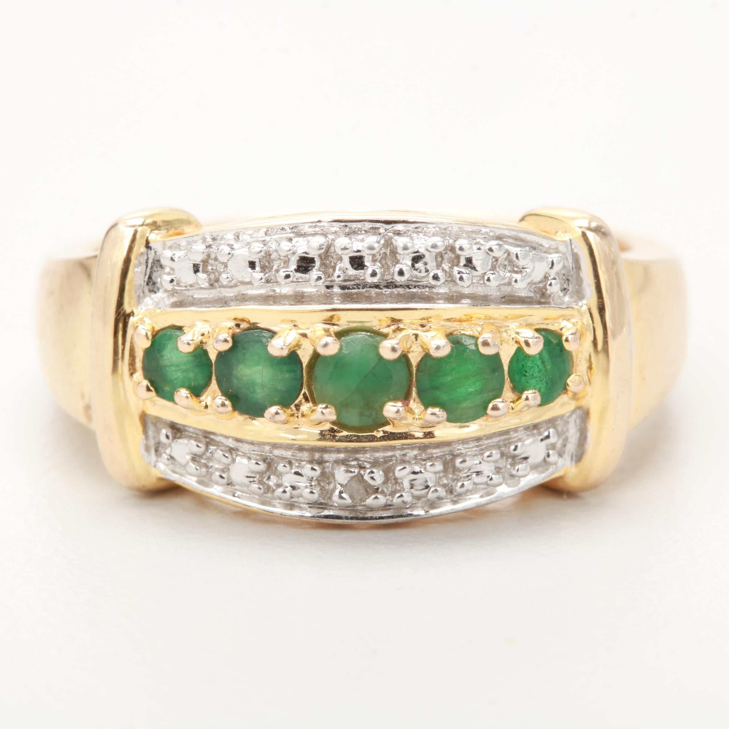 Gold Wash on Sterling Silver Emerald and Diamond Ring