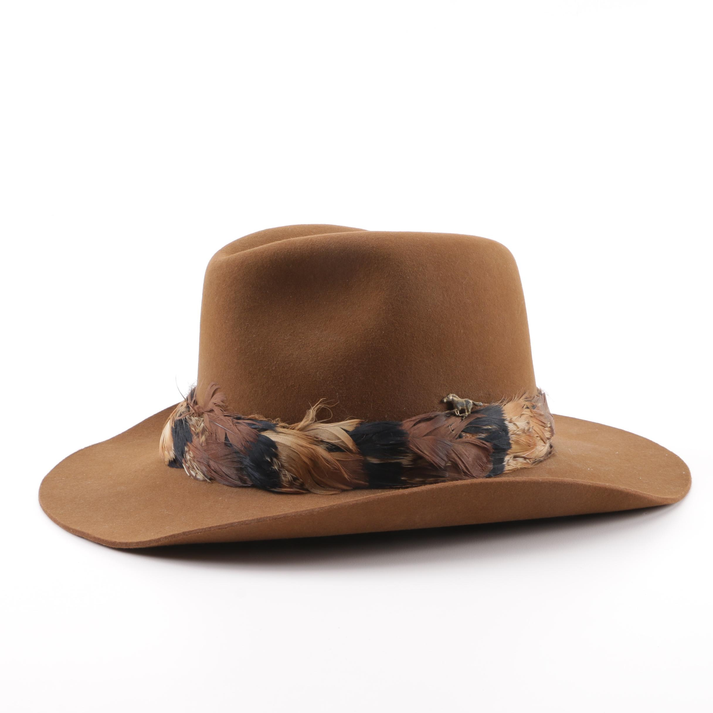 Men's Resistol Tan Felted Western Cowboy Hat with Feathered Band