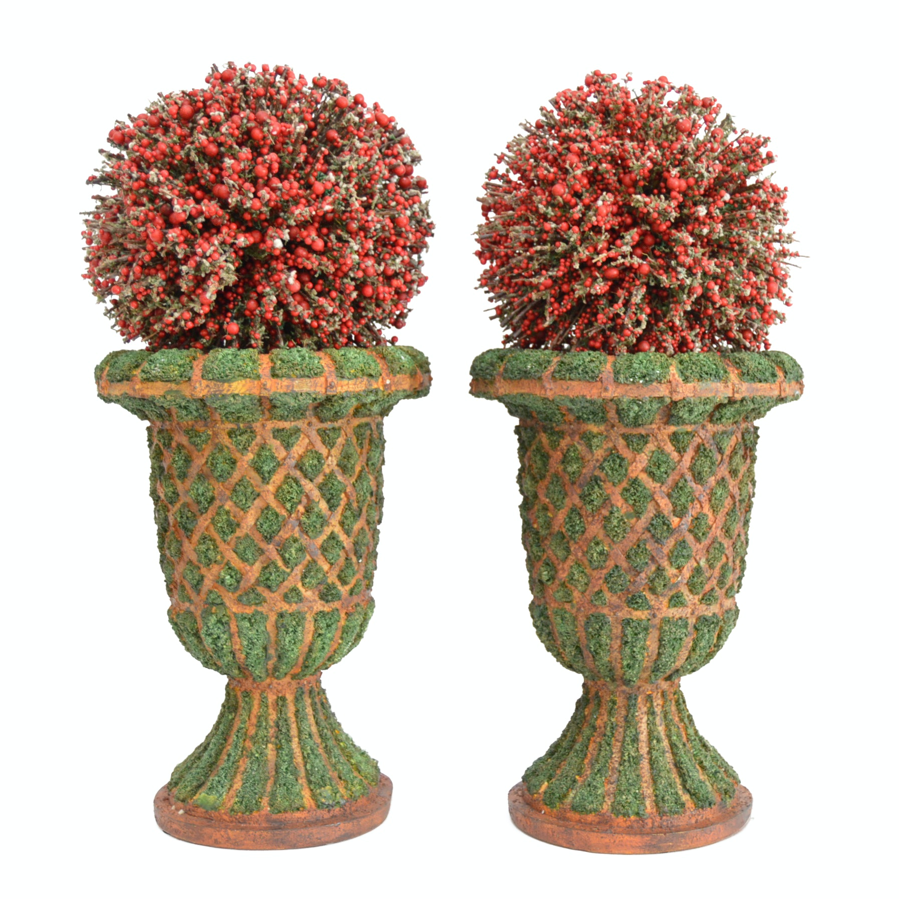 Pair of Berry Ball Topiaries in Moss-Latticed Ceramic Urns