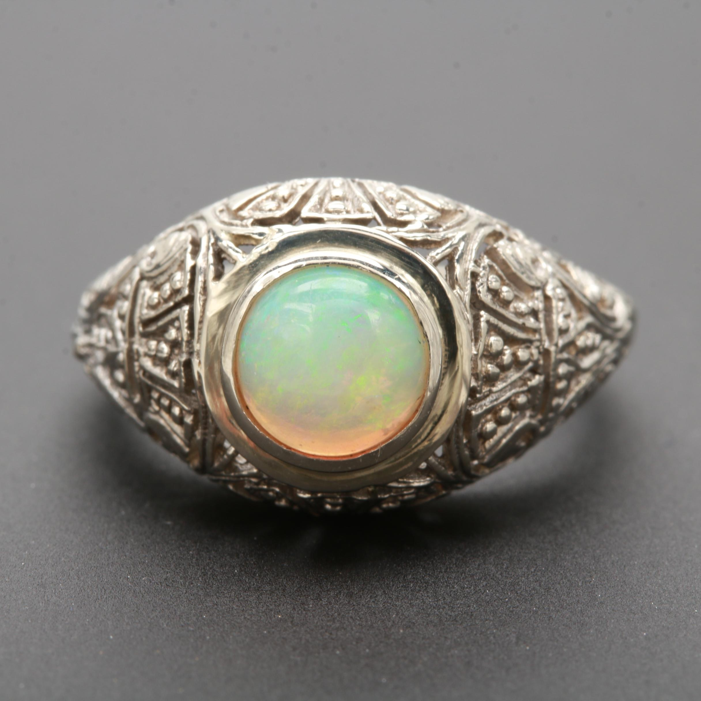 Vintage Style 14K White Gold Opal Ring