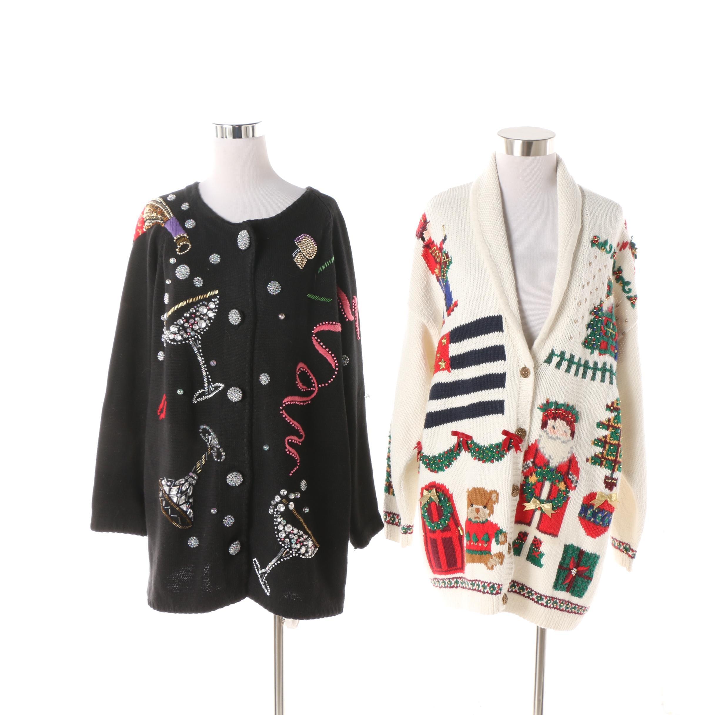 Women's Vintage Christmas and Cocktail Motif Embellished Knit Cardigans