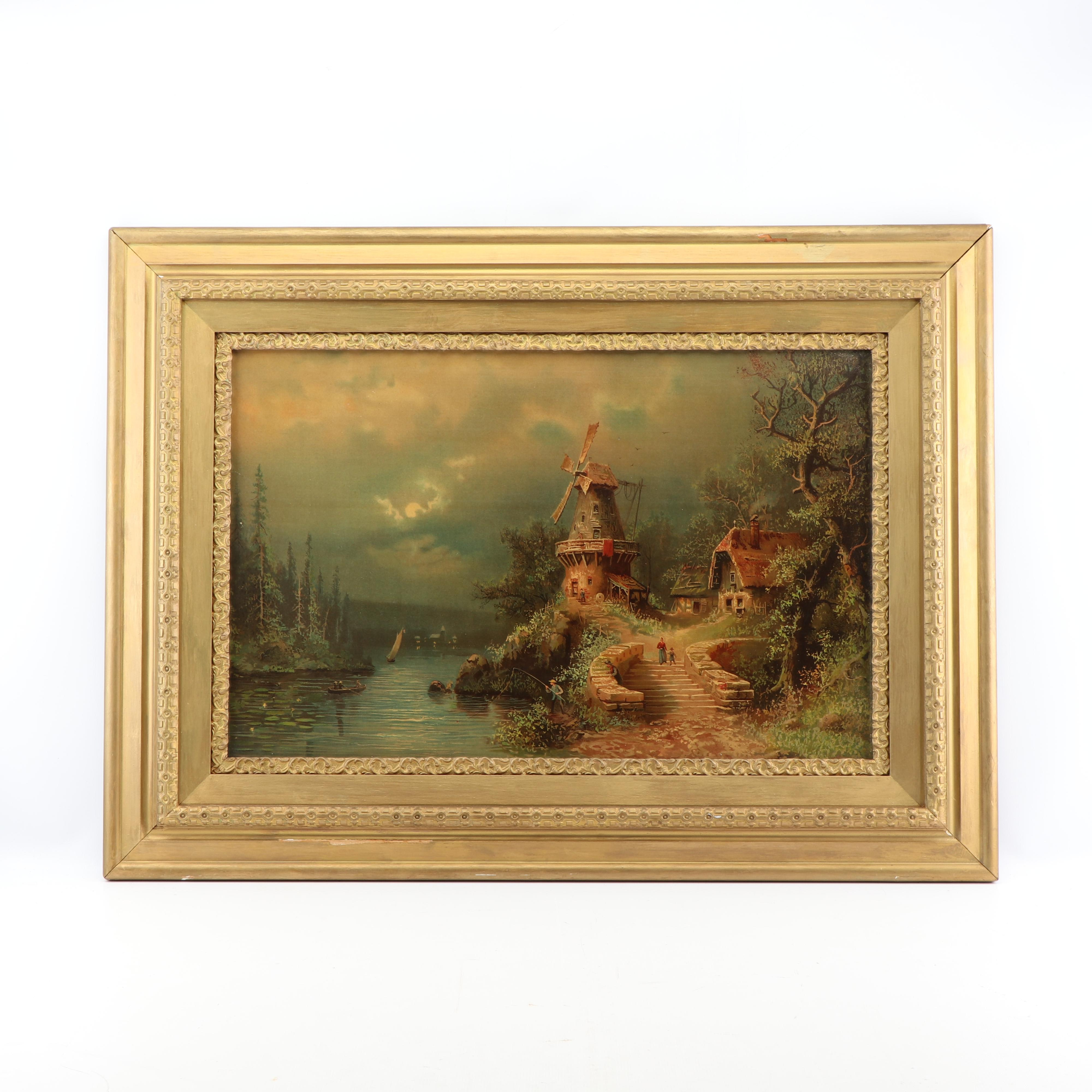Color Lithograph of Landscape with Windmill