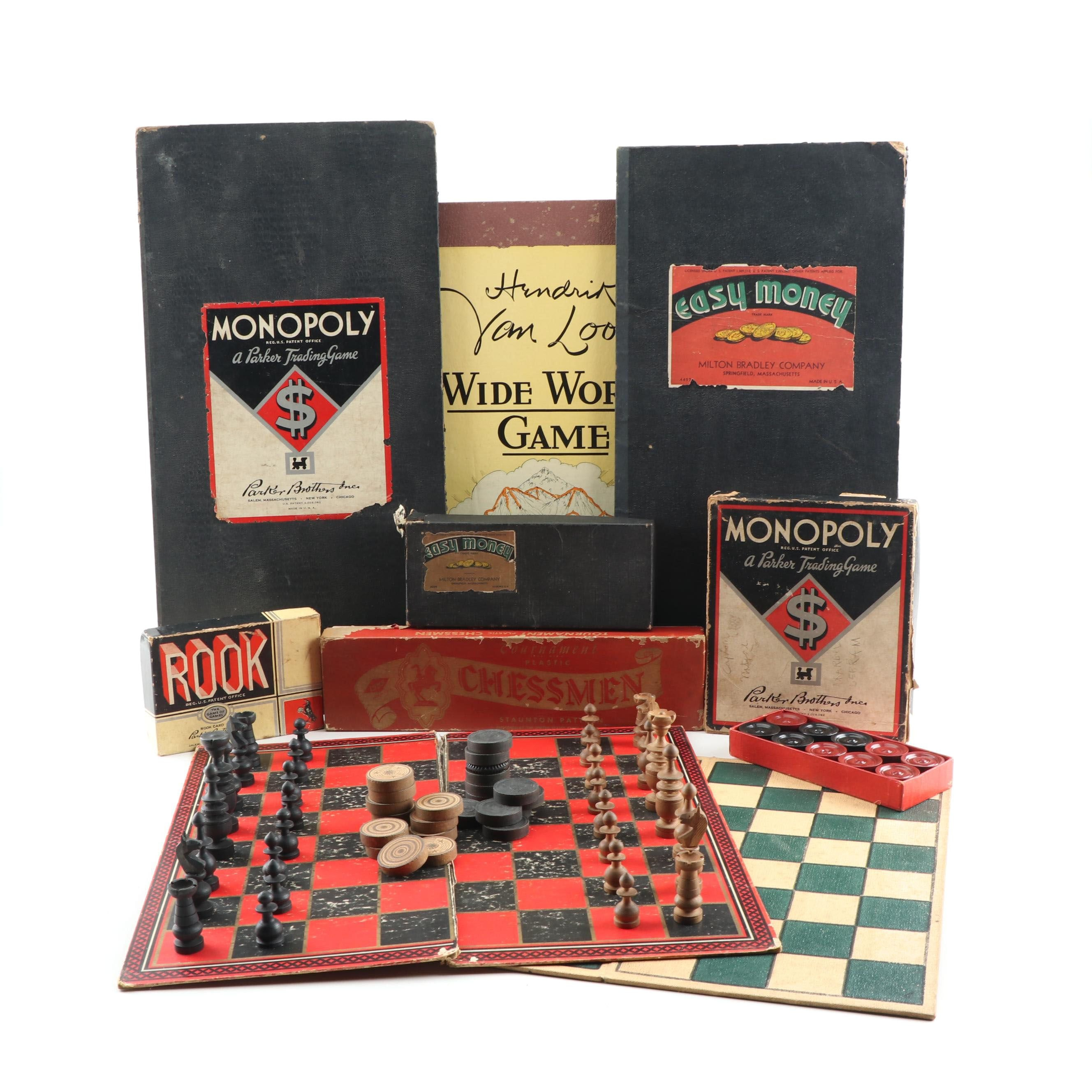 Board Games including Monopoly, Mid Century
