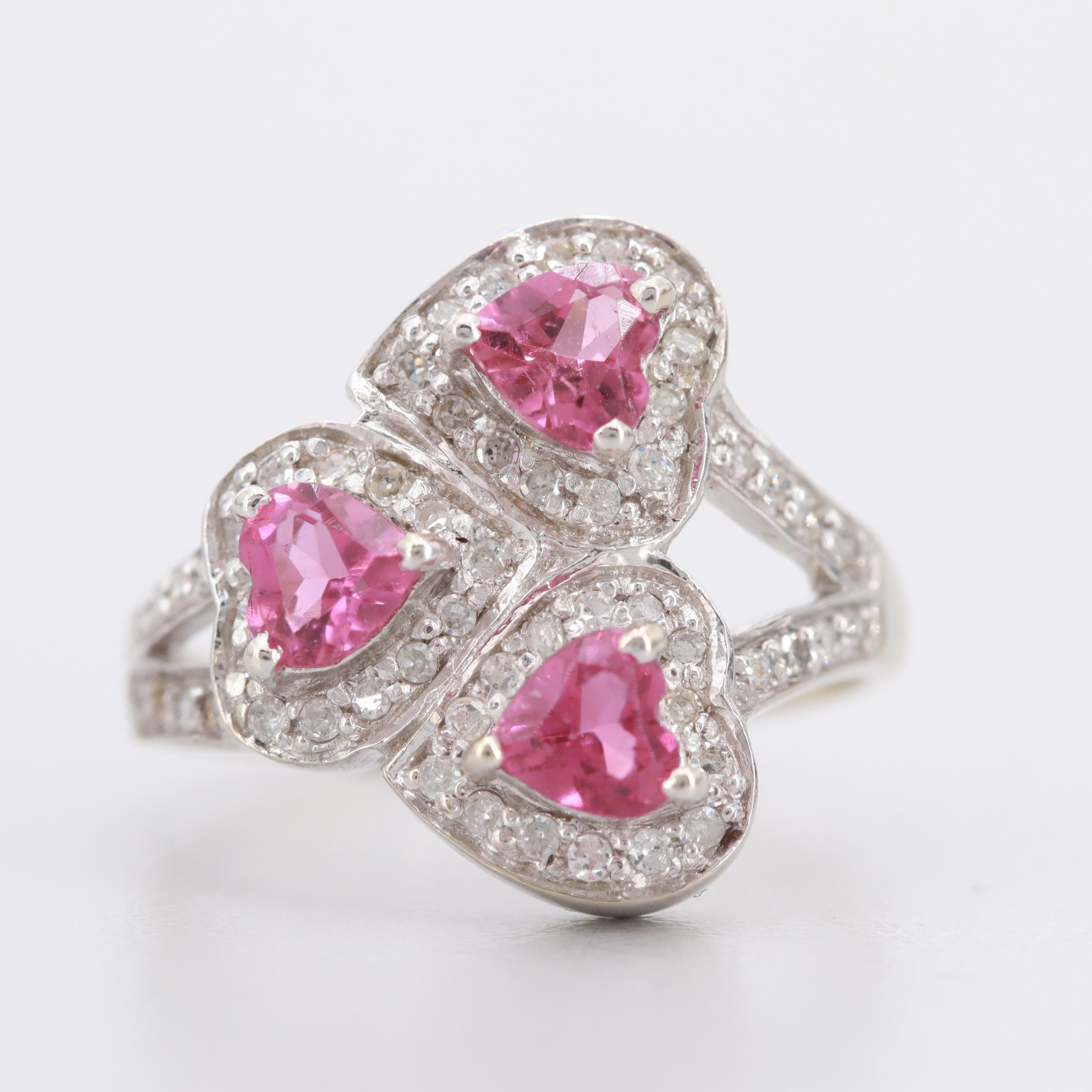 14K White Gold Pink Tourmaline and Diamond Ring