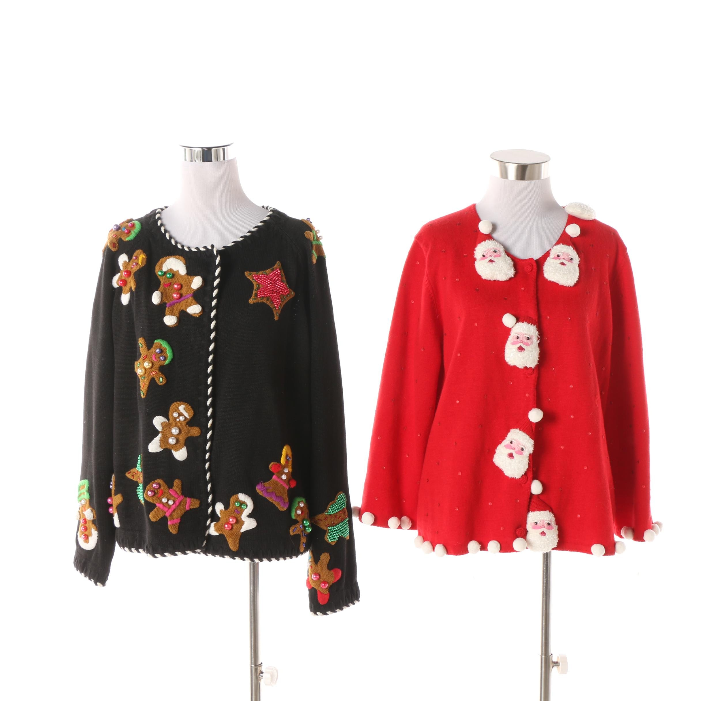 Women's Vintage Michael Simon Embellished Holiday Cardigans