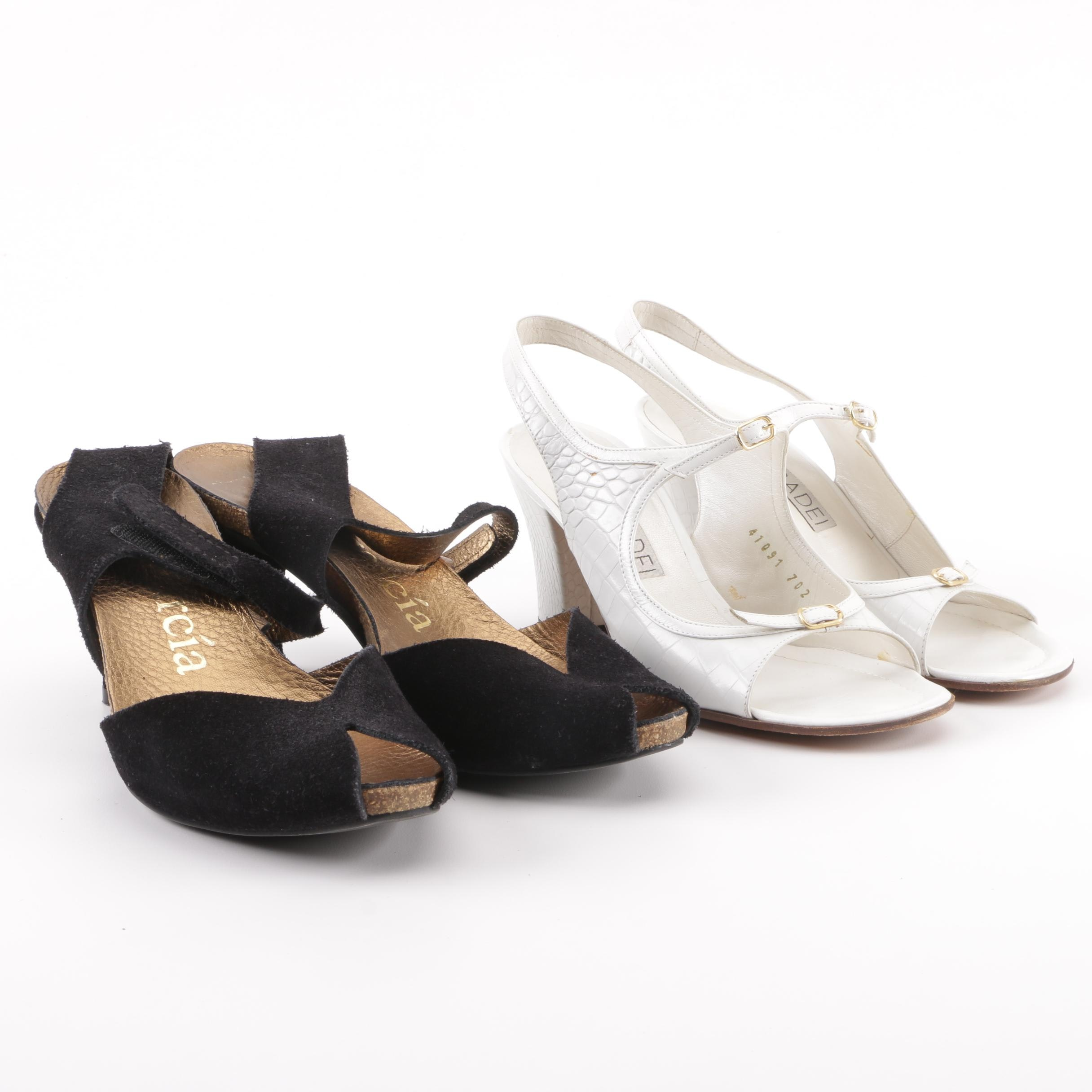 Pedro Garcia Black Suede and Casadei Crocodile Embossed White Leather Sandals
