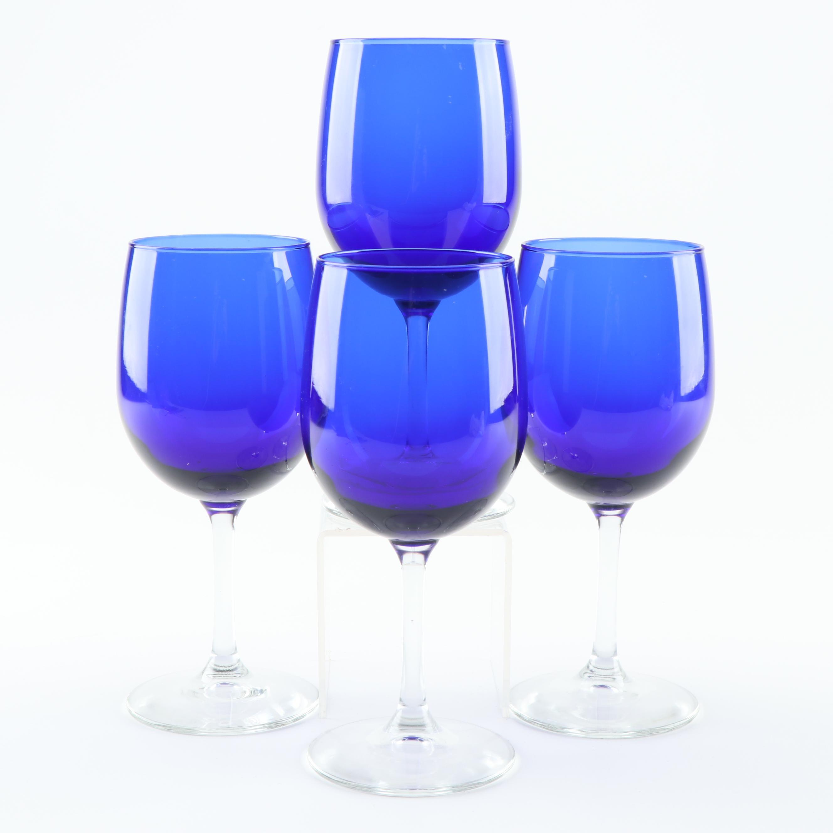 Cobalt Tint White Wine Glasses