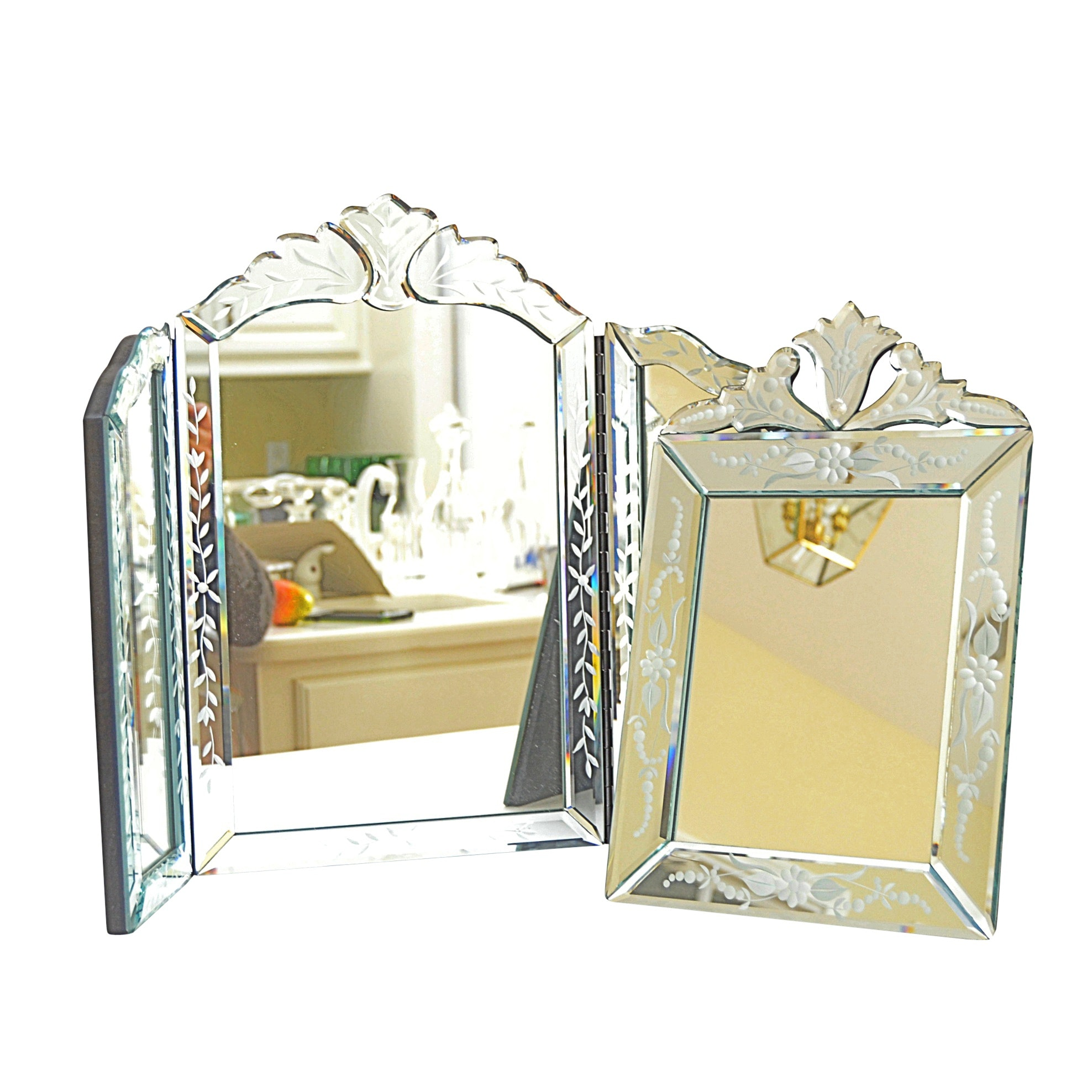Art Deco Style Floral-Etched Tri-Fold Vanity Mirror and Easel Mirror