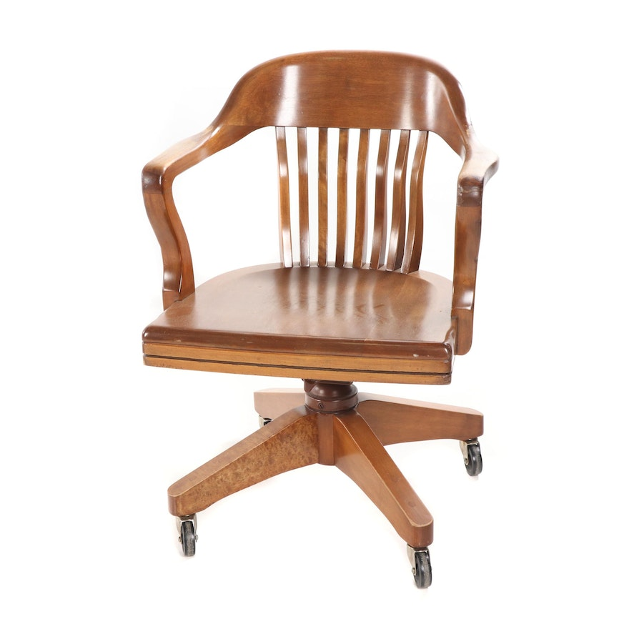 Cherrywood Office Chair On Casters Mid 20th Century