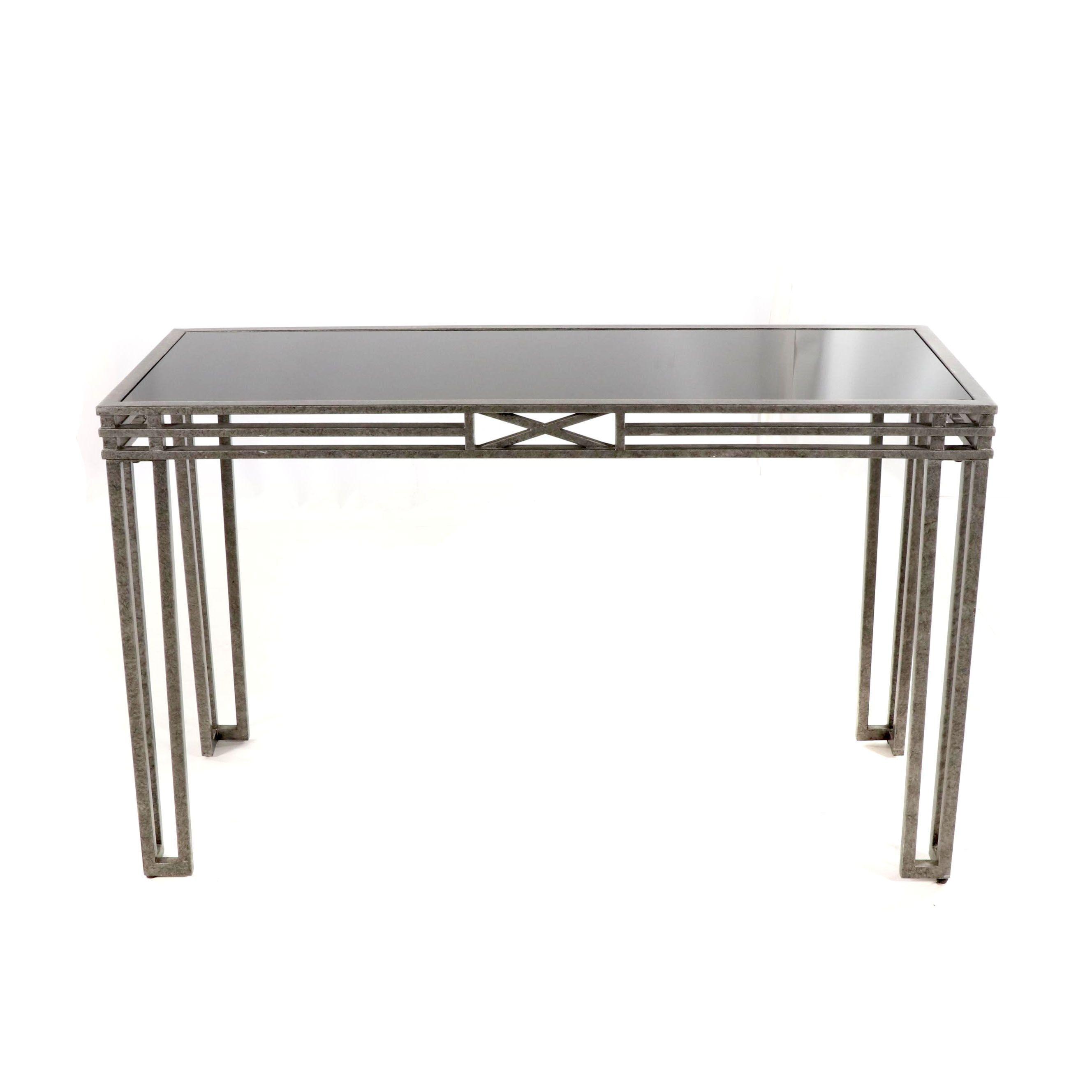 Metal and Black Glass Console Table, 21st Century