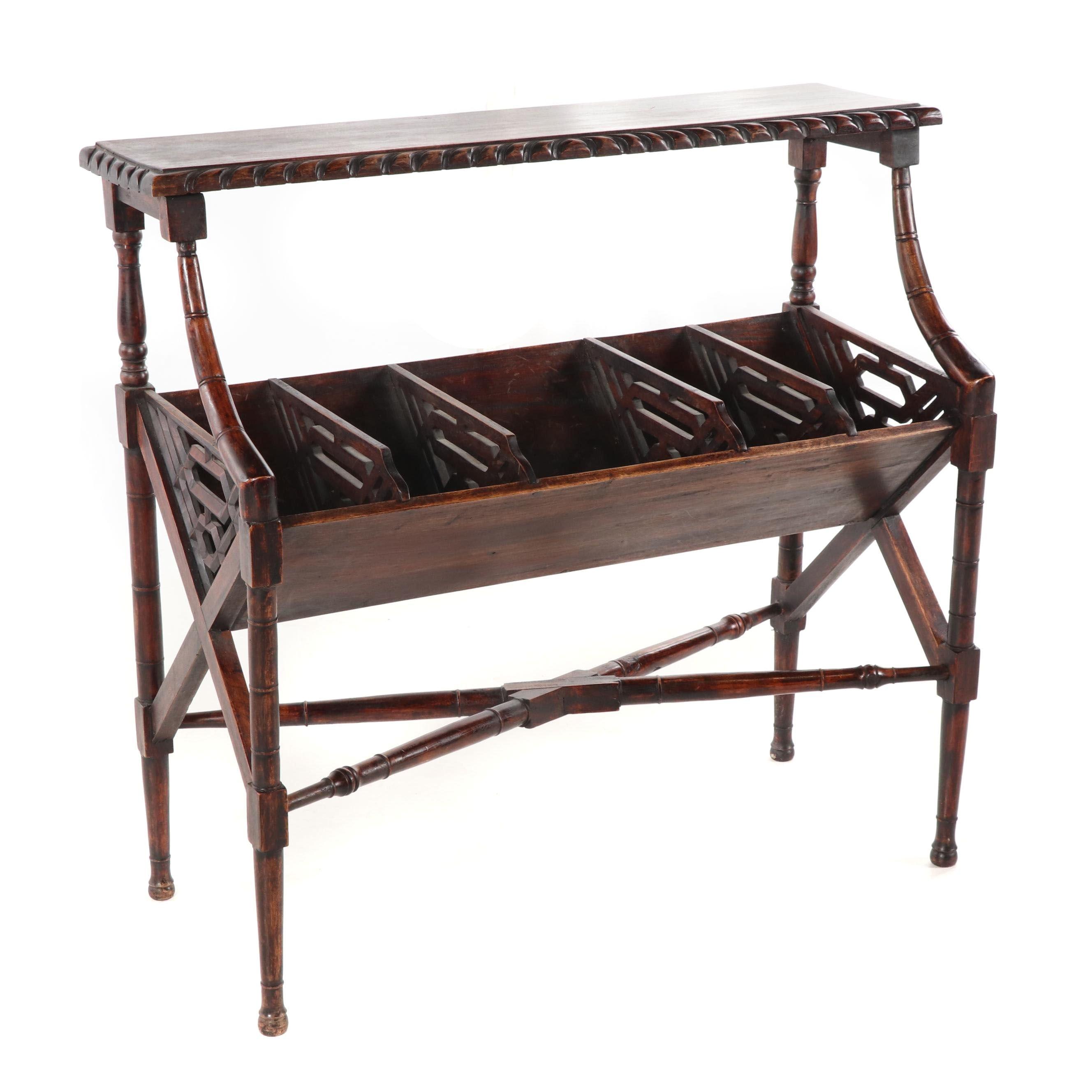 Contemporary Mahogany Book Rack Table