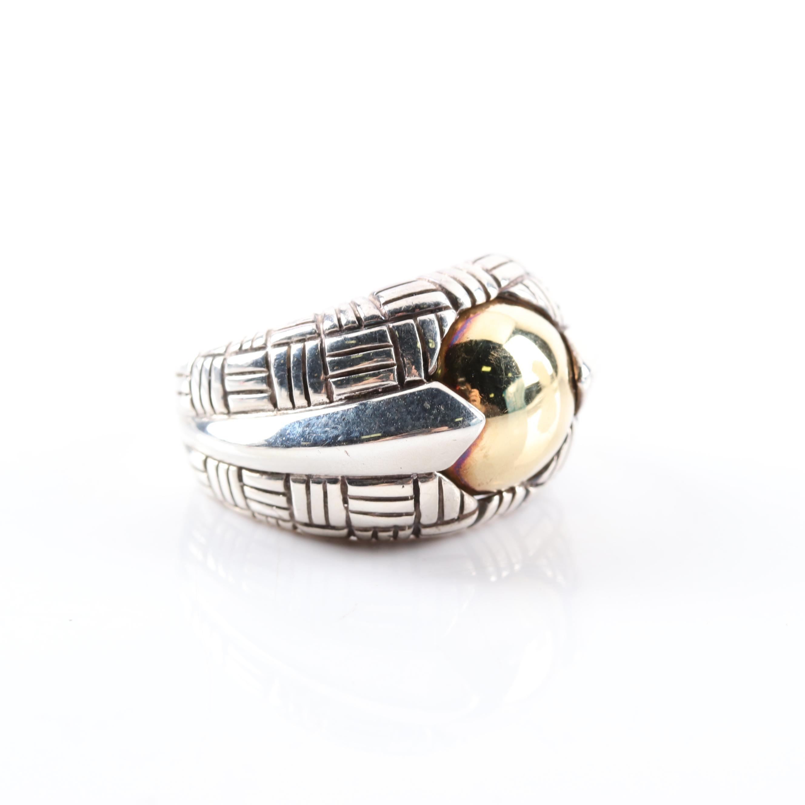 Suna Bros Sterling Silver and 18K Yellow Gold Ring