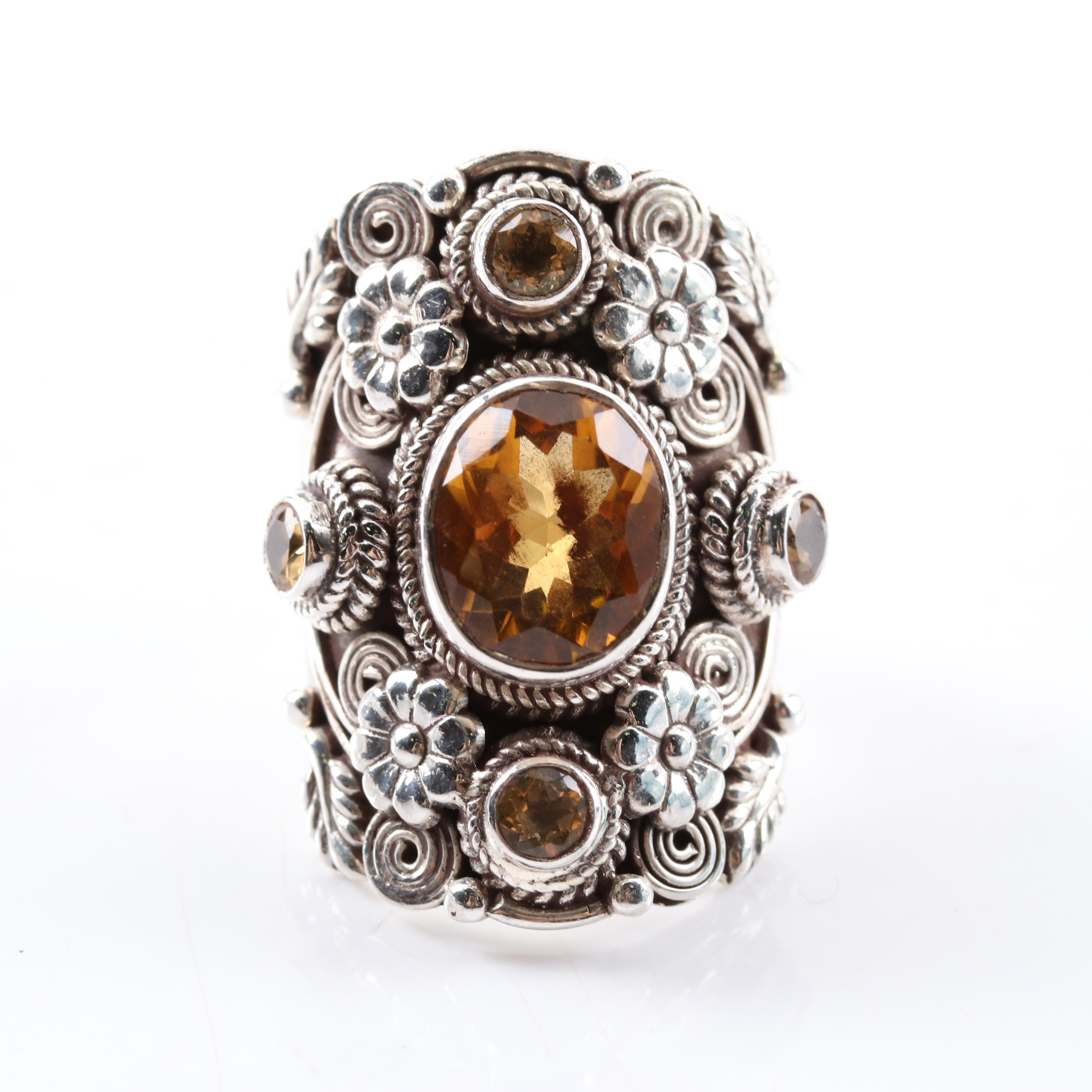 Sterling Silver 4.14 CTW Citrine Ring