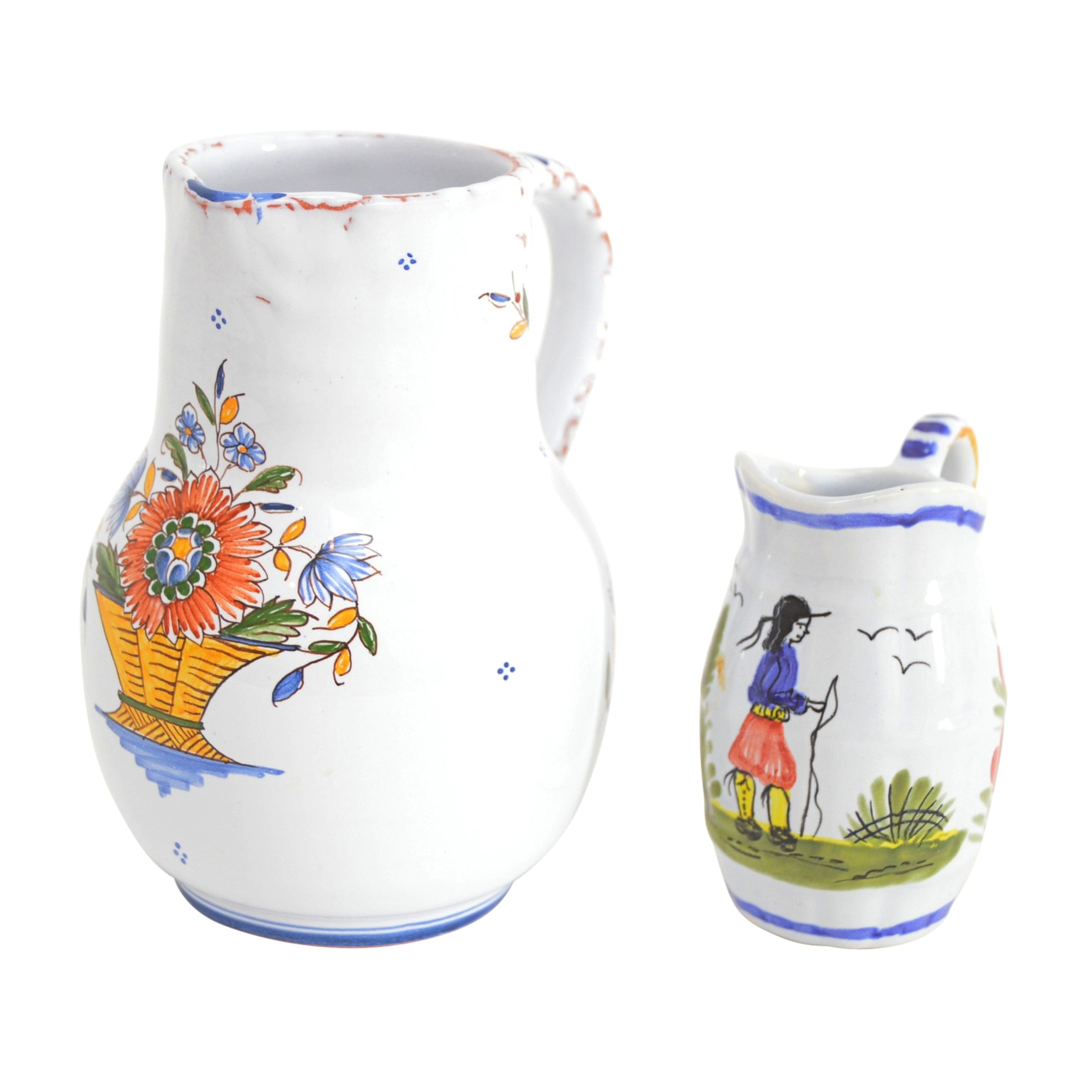 French Faience Pottery Pitchers with Quimper