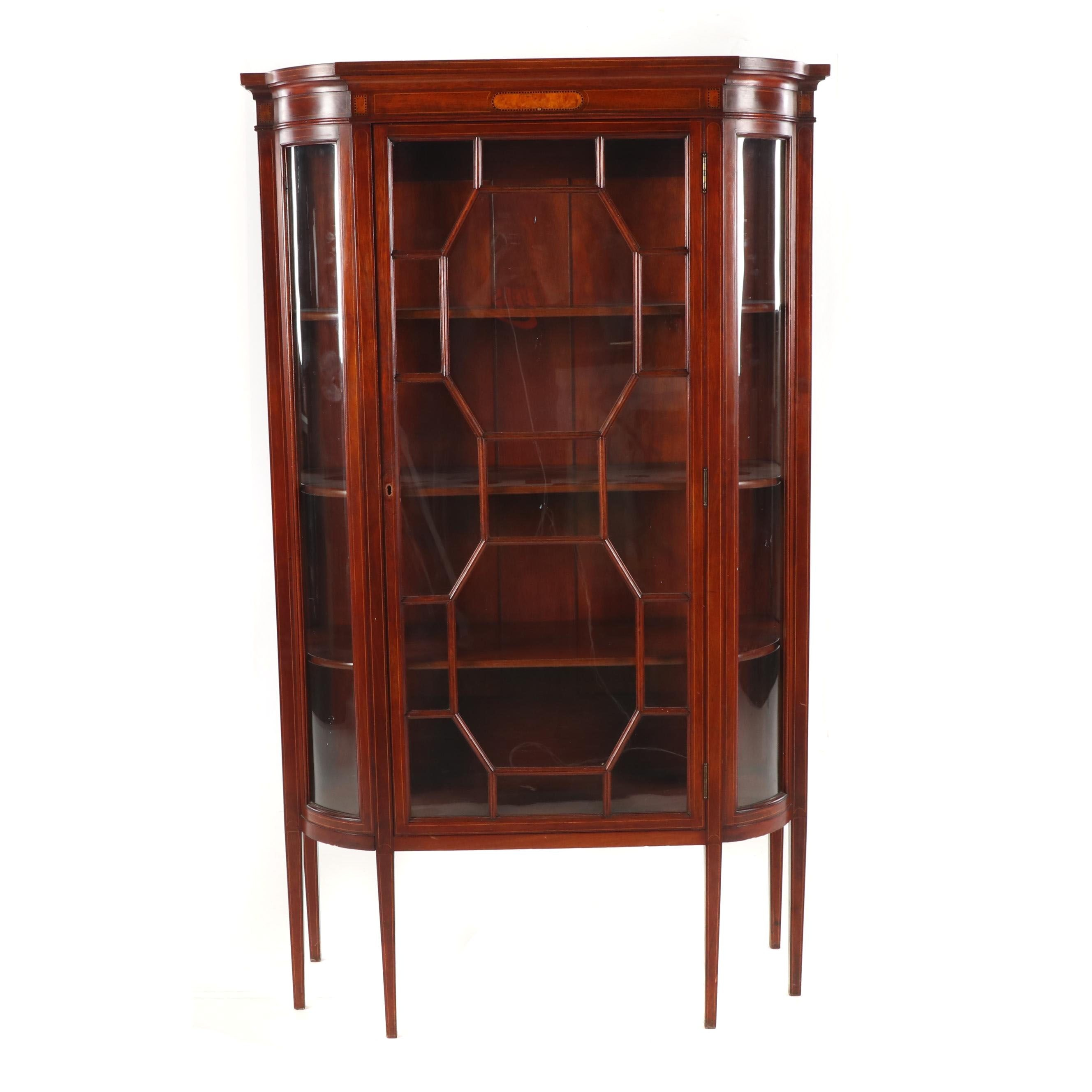 Federal Style Mahogany Curio Cabinet, Mid-20th Century