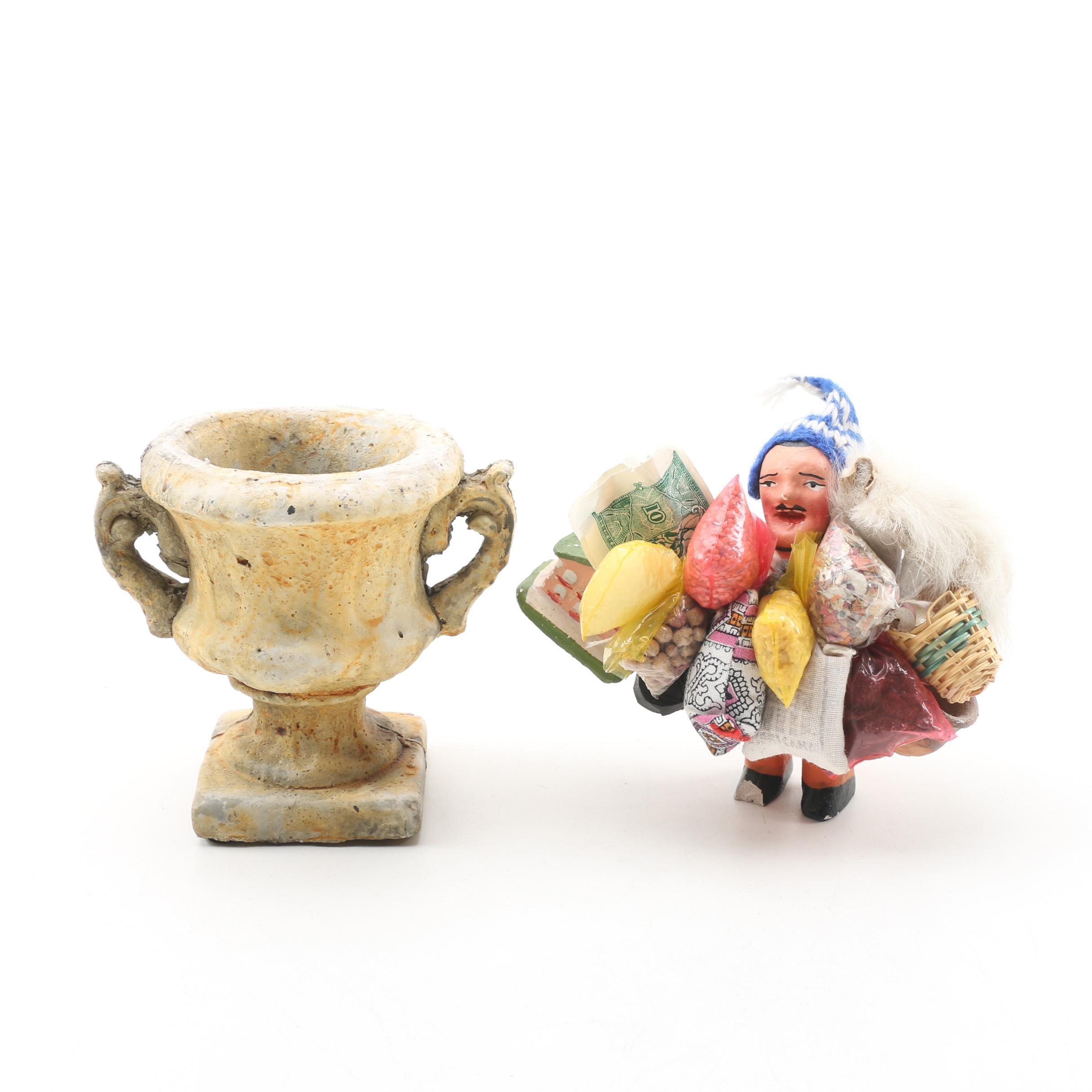 "Bolivian ""Jolly Ekeko"" Figurine with Napa Home & Garden Miniature Urn"