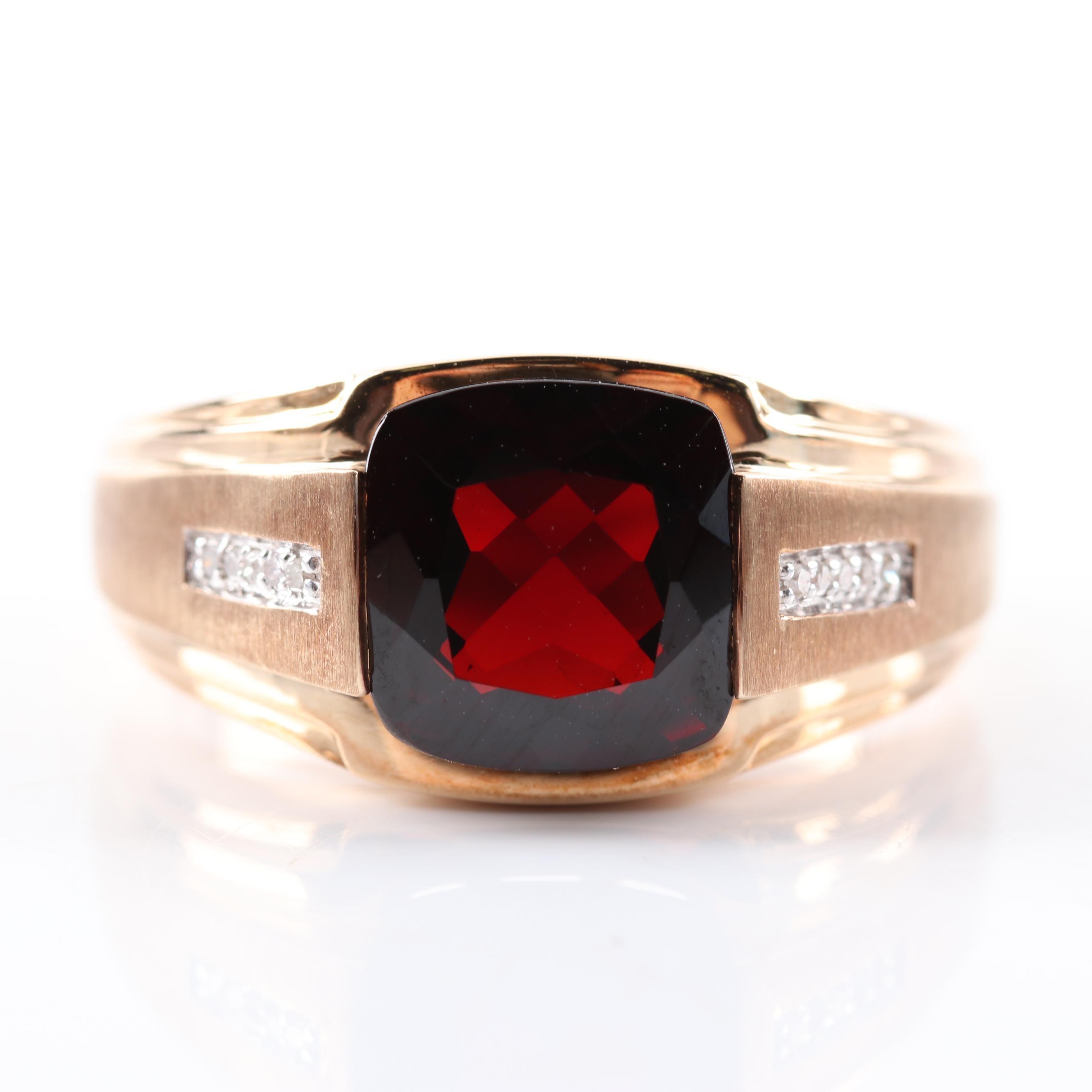 10K Yellow Gold 3.50 CT Garnet and Diamond Ring