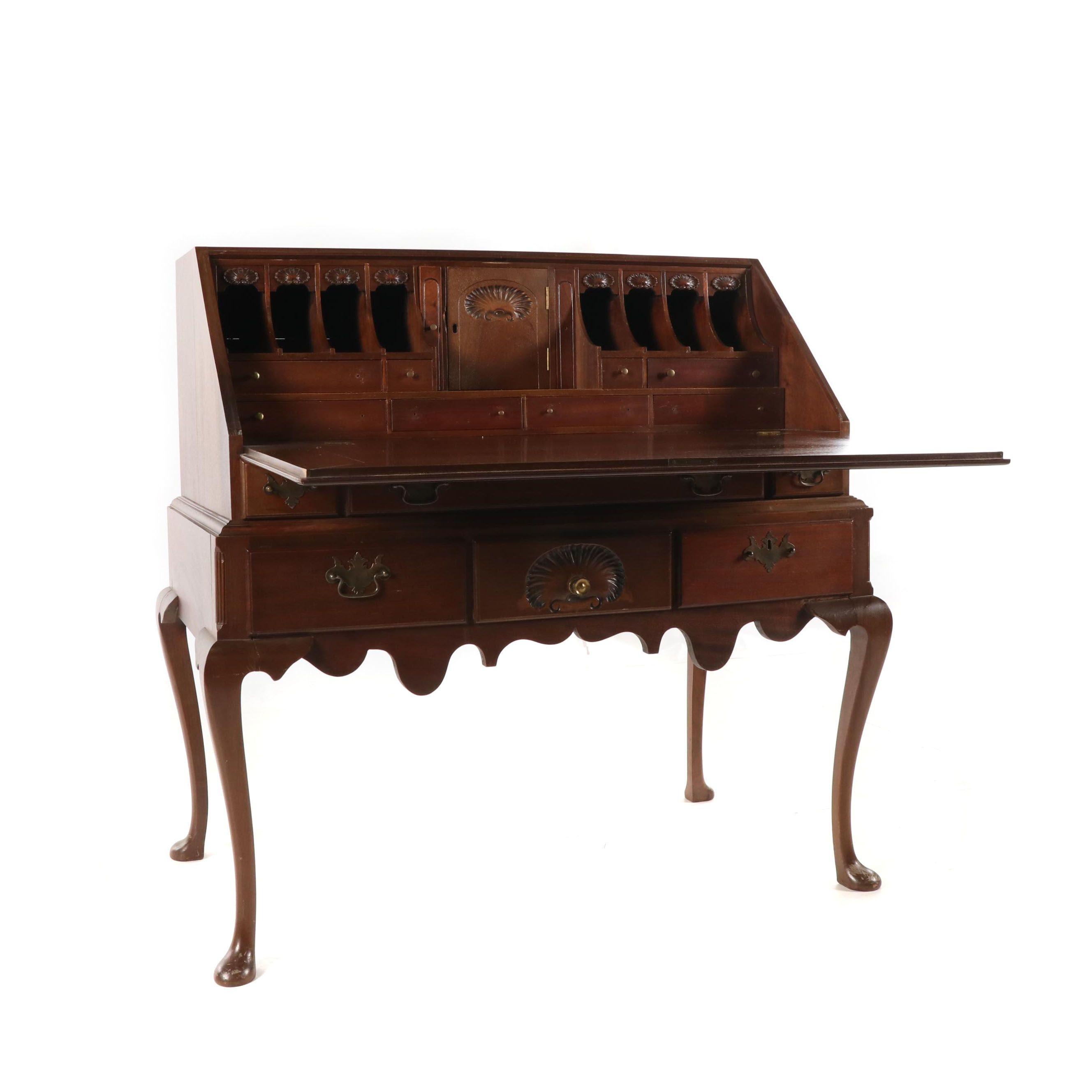 Queen Anne Style Walnut Drop Front Secretary Desk, Early 20th Century