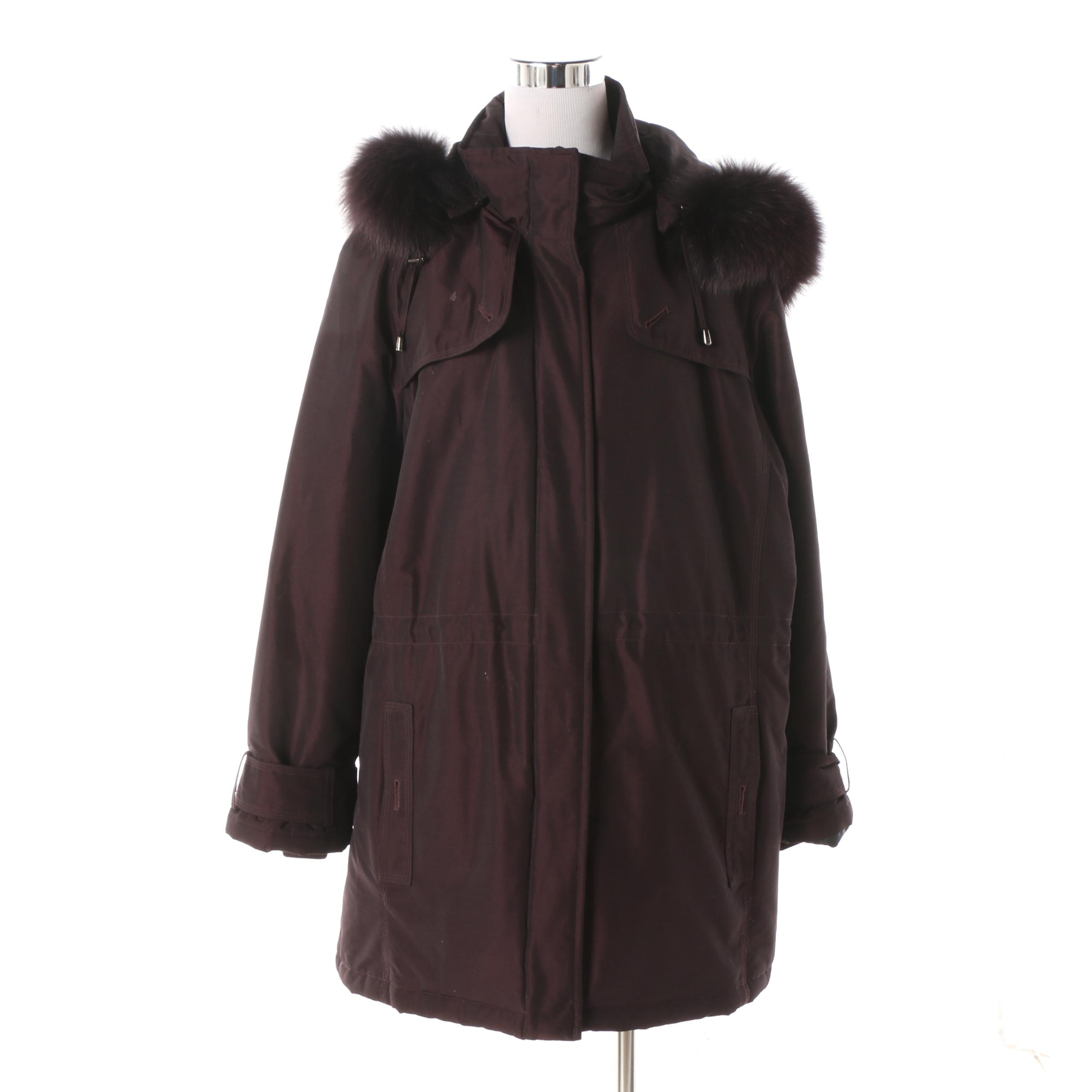 Women's Pendleton Dark Purple Hooded Coat with Fox Fur Trim