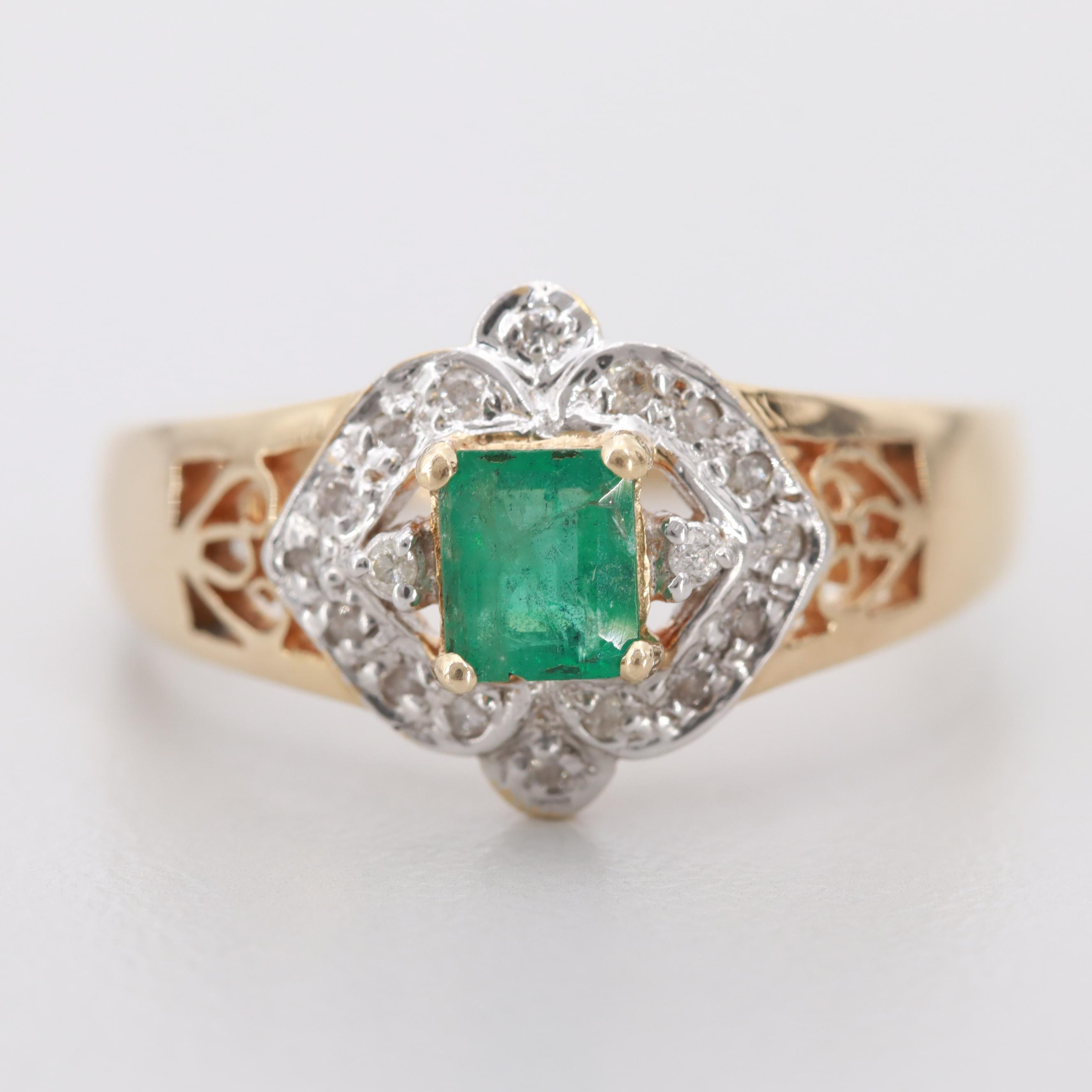 14K Yellow Gold and White Gold Emerald and Diamond Ring