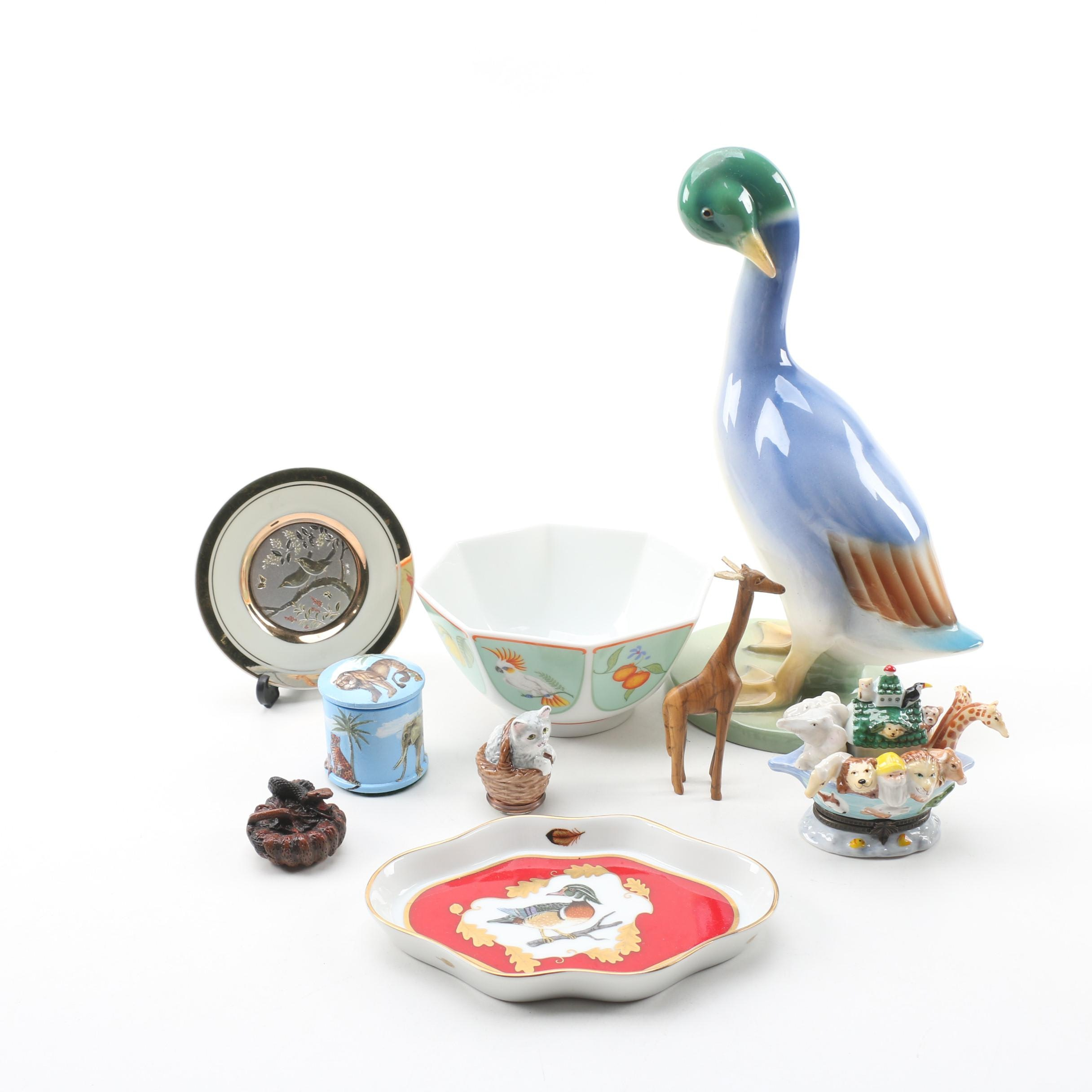 "Italian Ceramic Duck Figurine with Lynn Chase ""Monkey Business"" Bowl and More"