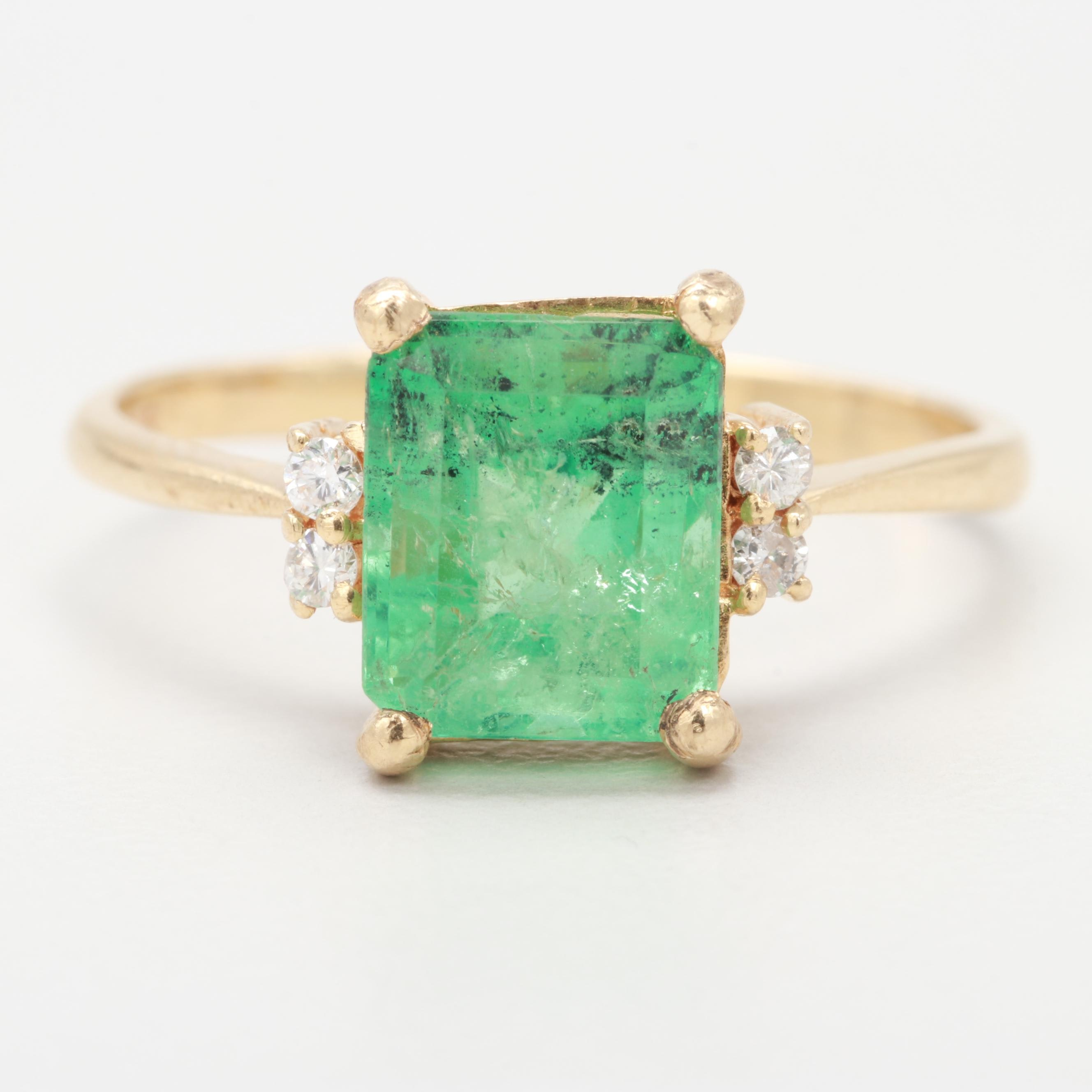 14K Yellow Gold 1.97 CT Emerald and Diamond Ring
