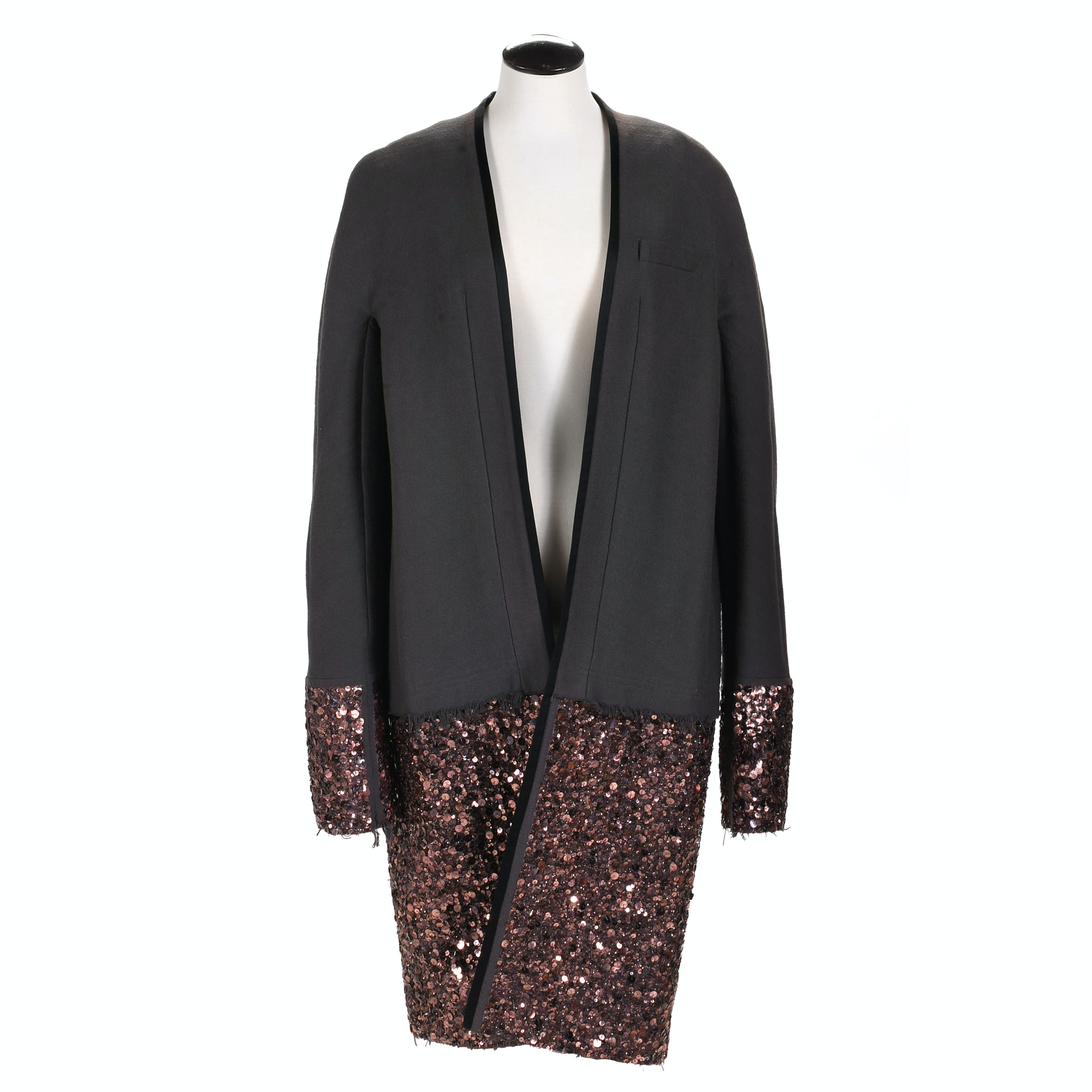 Women's Haider Ackermann Duster with Dramatic Sequined Hem and Cuff, Belgium