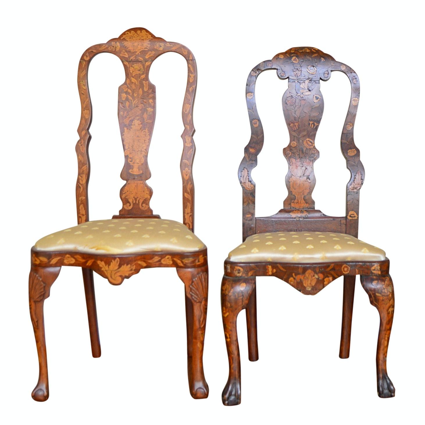Dutch Walnut Marquetry Side Chairs, 19th Century