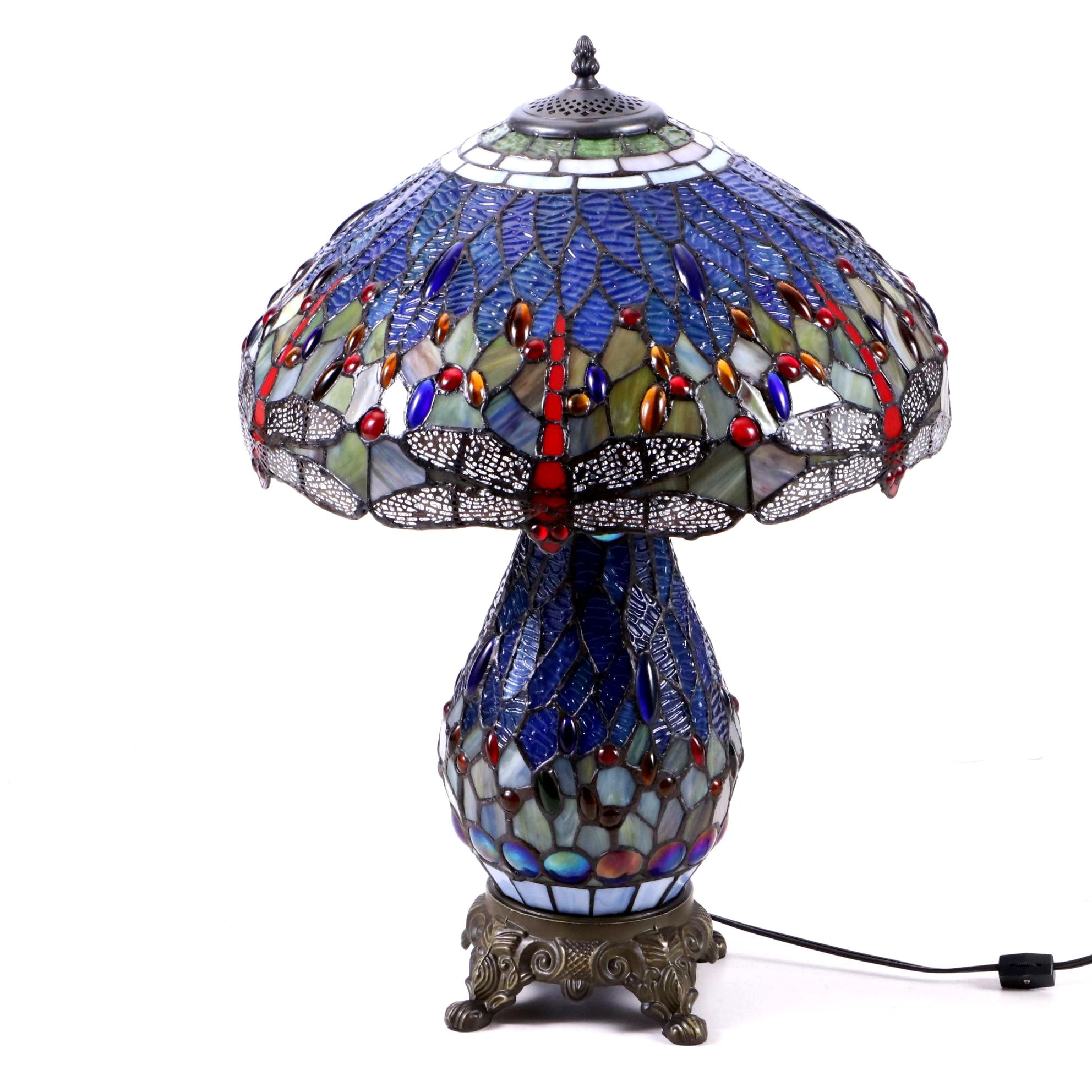 Dual Light Metal Table Lamp with Slag and Stained Glass Dragonfly Shade
