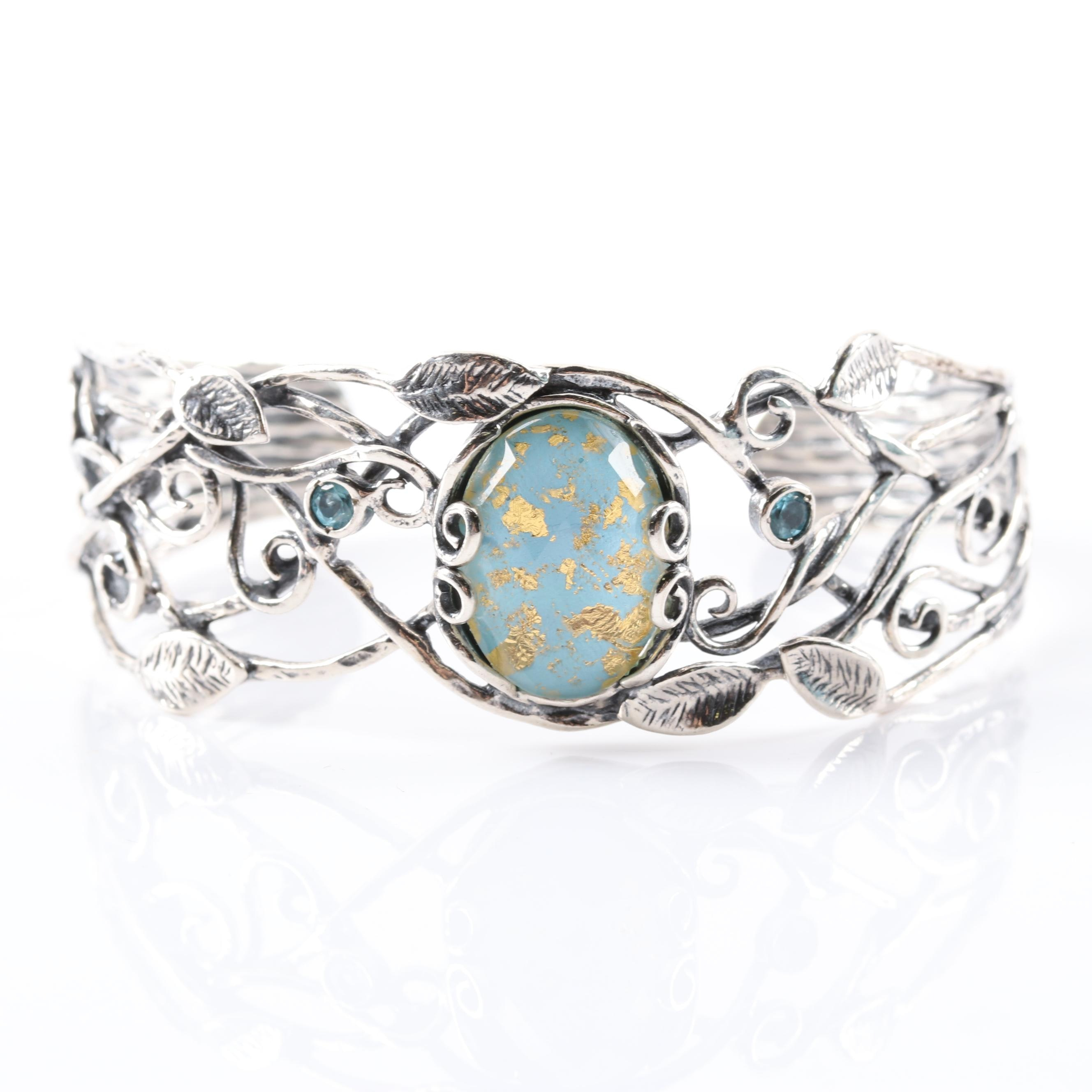 Sterling Silver Crystal Quartz Turquoise Doublet and Zircon Cuff Bracelet