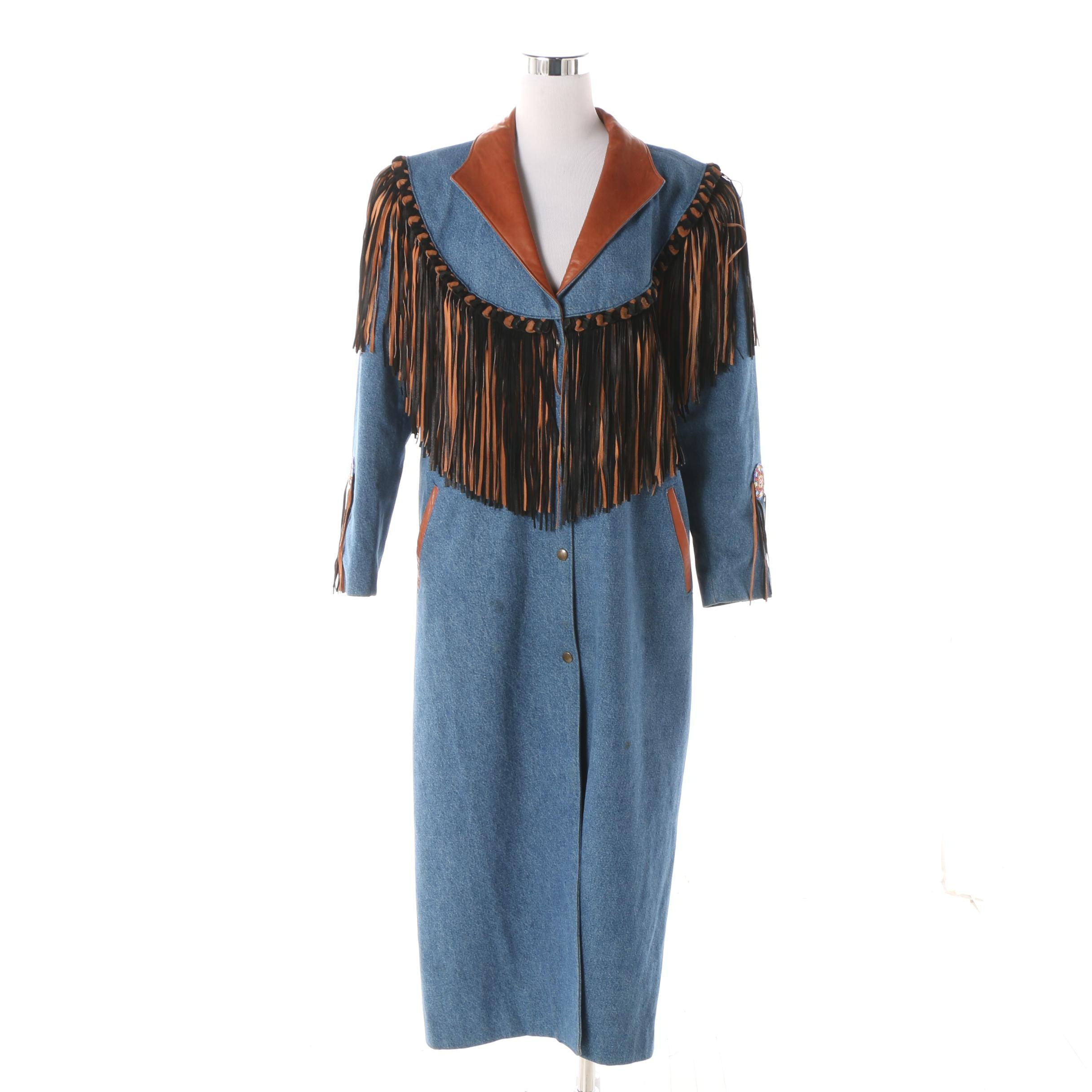 Women's Denim and Leather Duster with Fringe Trim