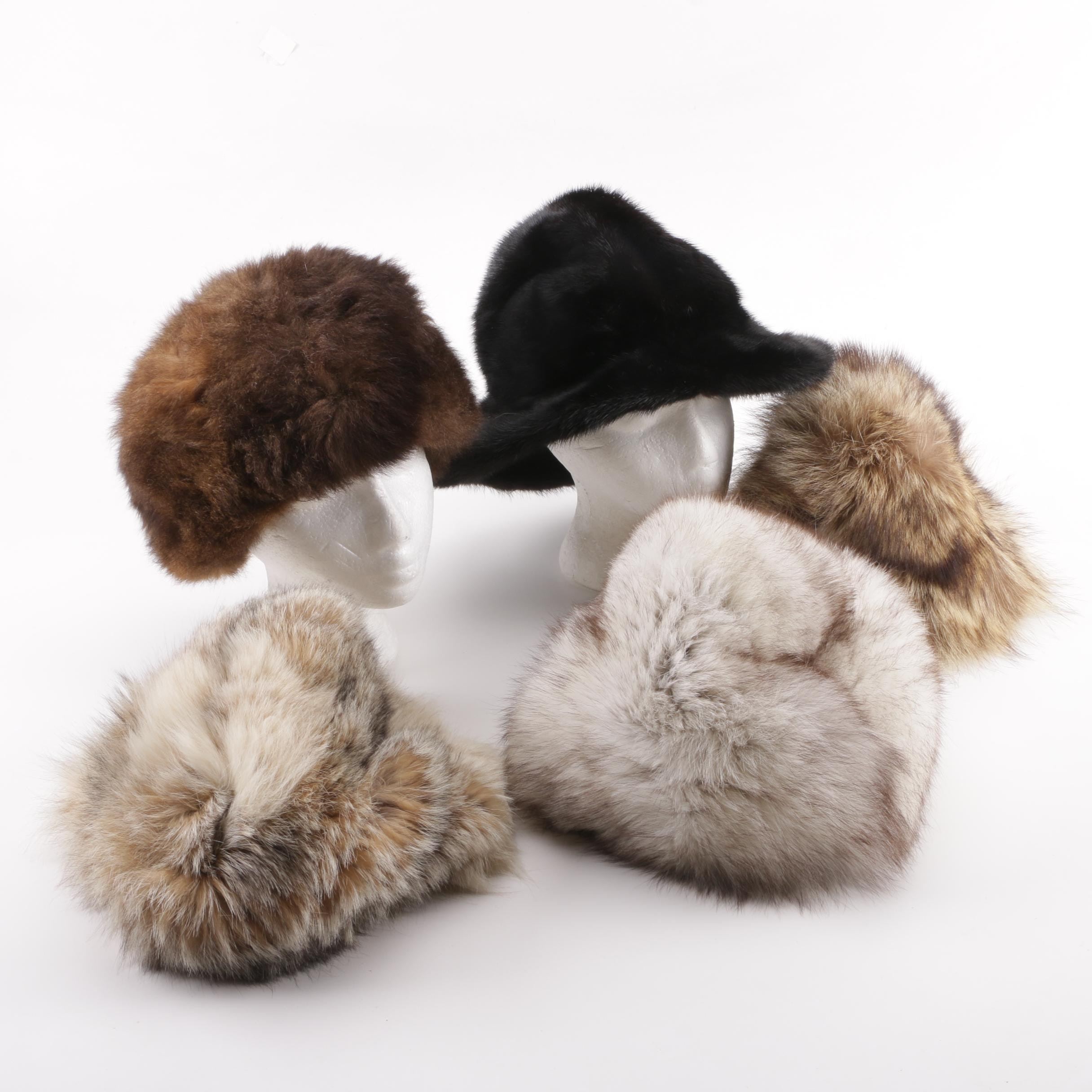 Women's and Unisex Coyote, Fox, Mink, Raccoon and Muskrat Fur Hats