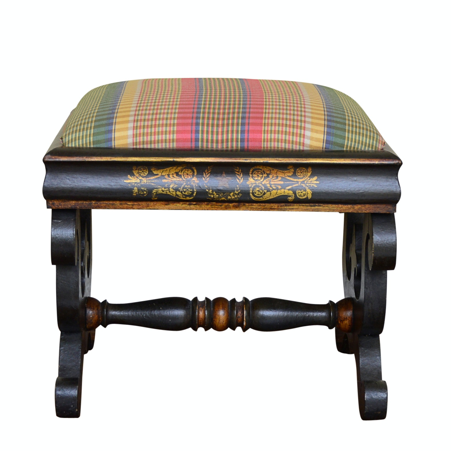 Neoclassic Style Bench Hand Painted by Jan Wolf