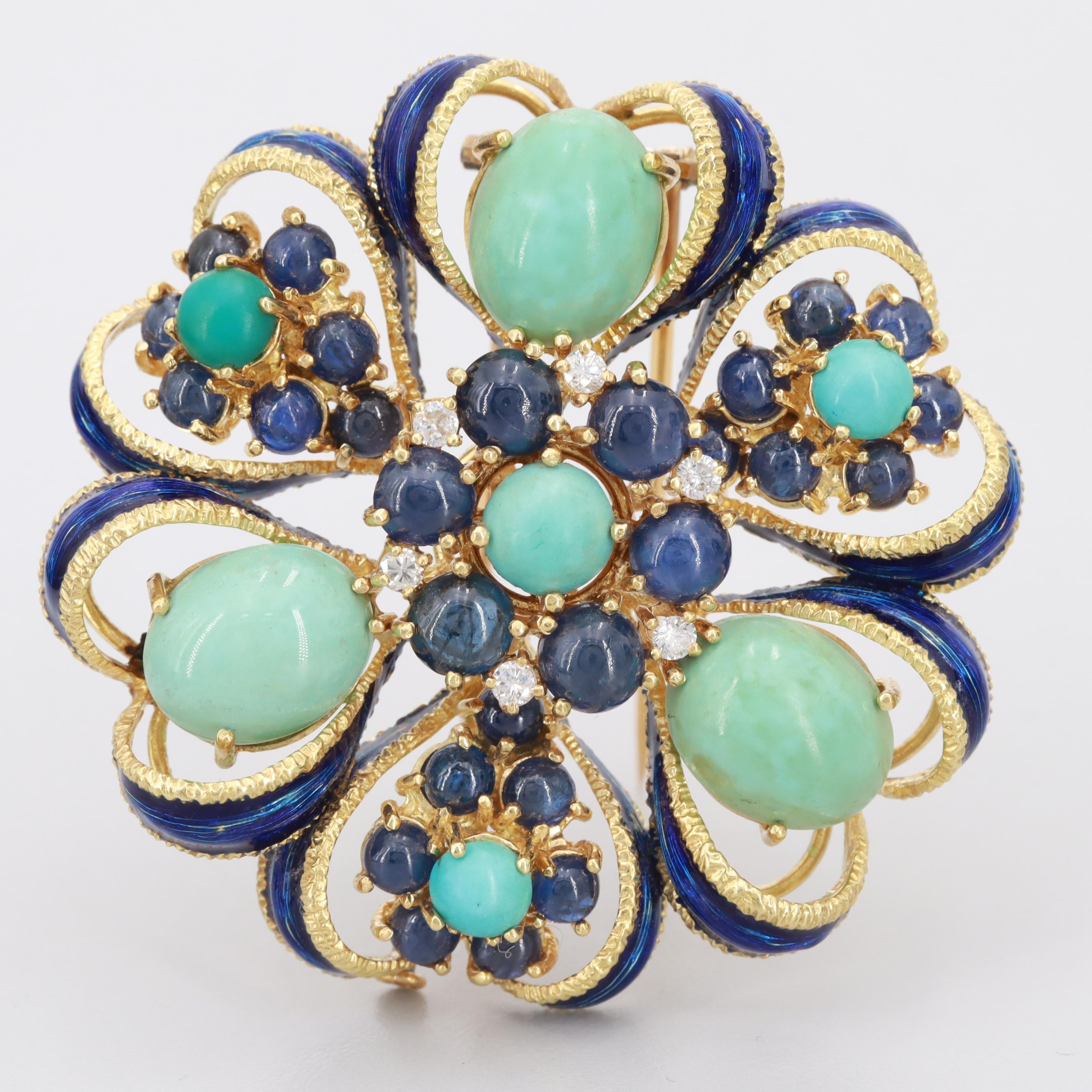 Circa 1950s-1960s French 18K Gold Turquoise, Blue Sapphire and Diamond Fur Clip