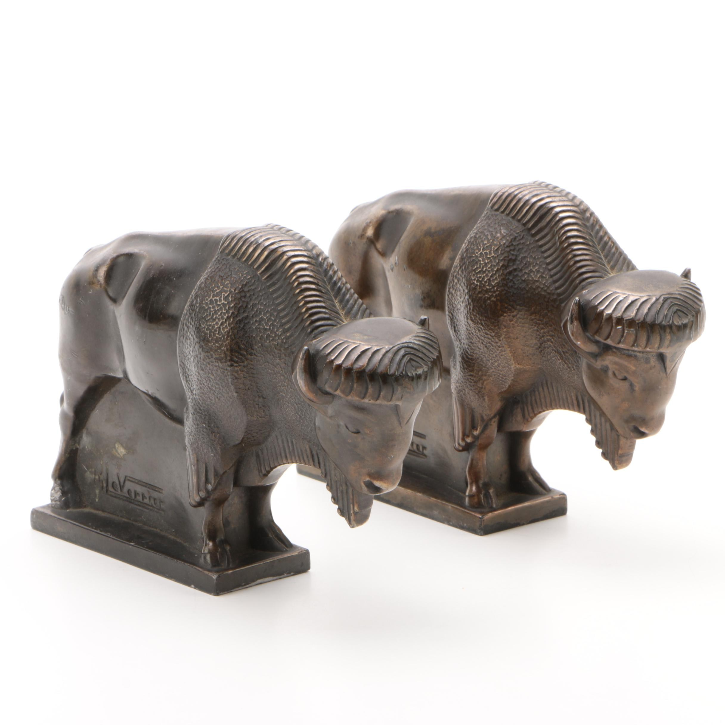 French Art Deco Brass Bison Bookends after Max Le Verrier