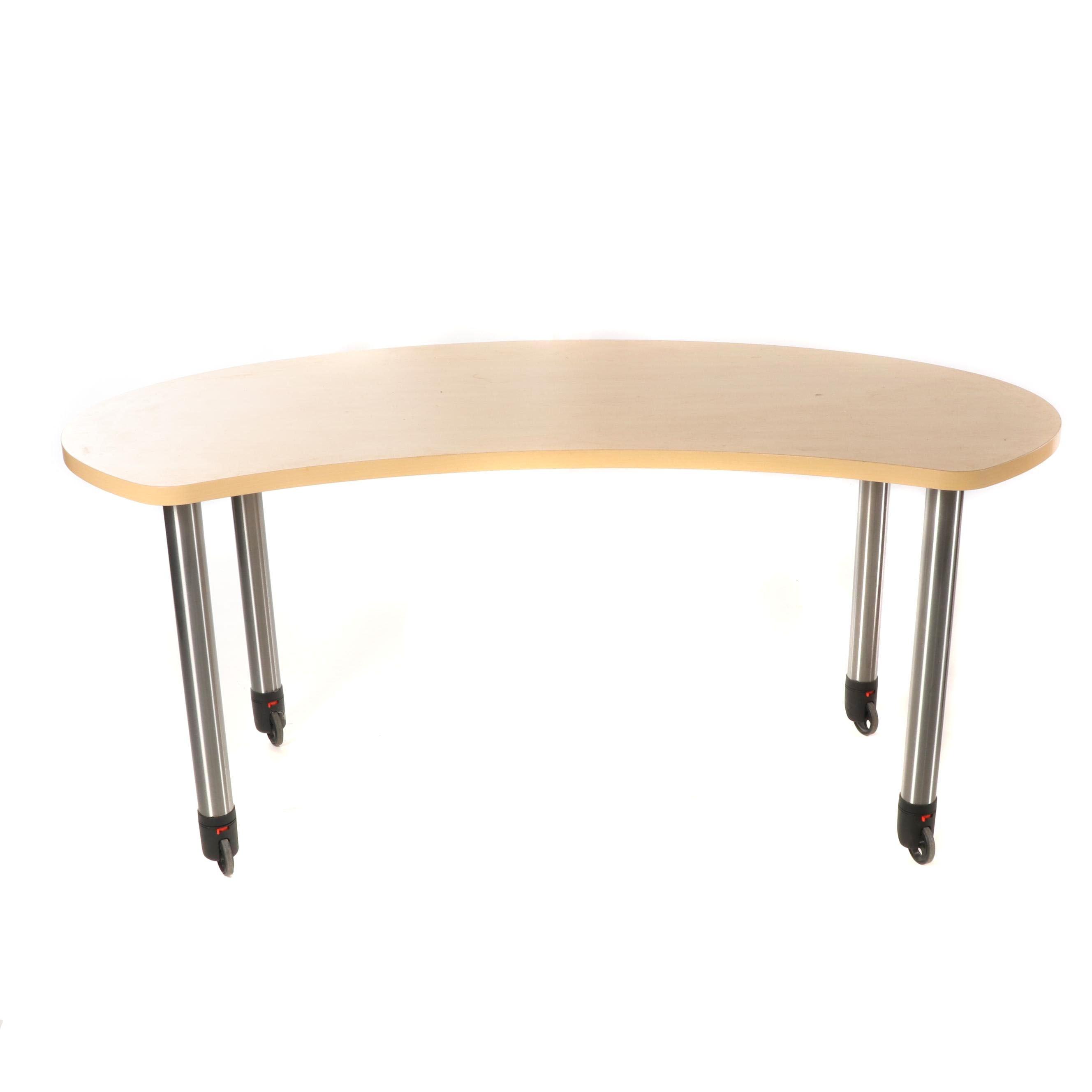 Maple Veneer Curved Work Table on Wheels, 21st Century