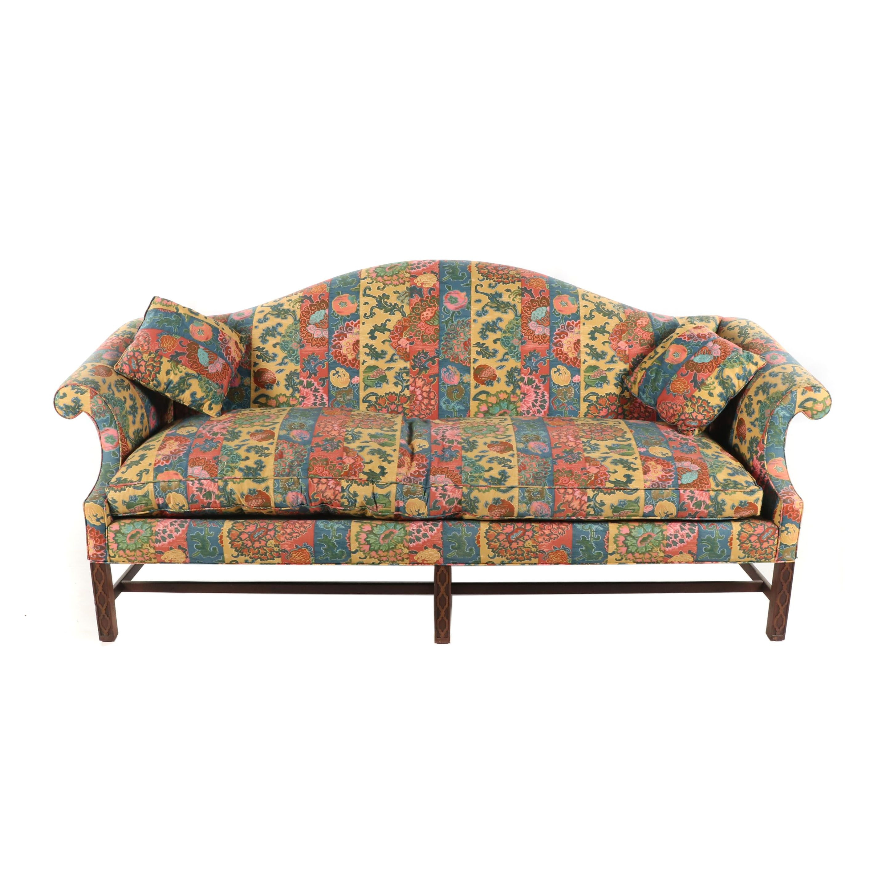 Federal Style Upholstered Camelback Sofa, Late 20th Century