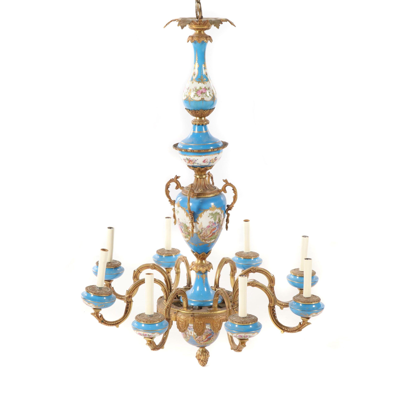 Sevres Style Gilt Porcelain Eight Arm Chandelier, Mid 20th Century