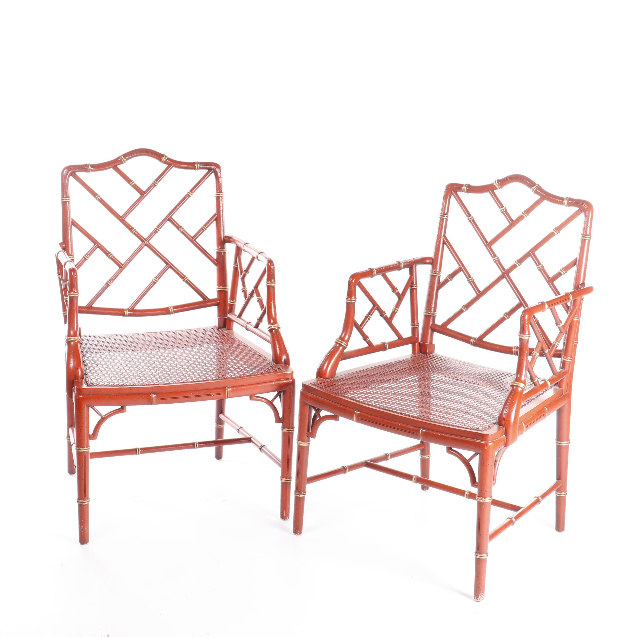 Asian Style Painted Faux Bamboo Frame Cane Seat Armchairs, Late 20th Century