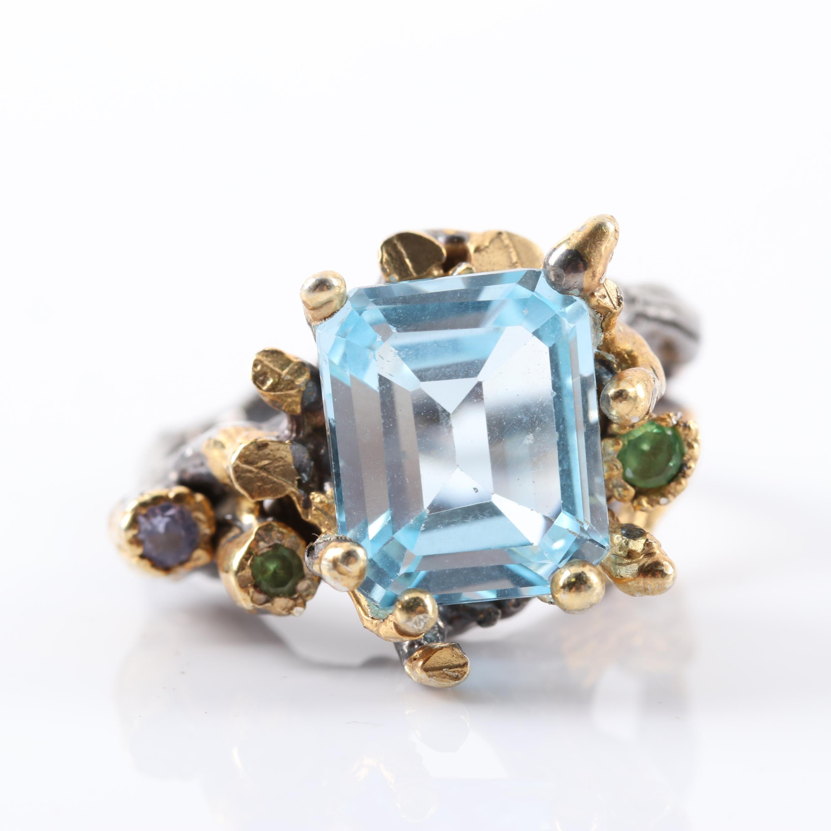 Gold Wash on Sterling Silver 6.26 CT Blue Topaz, Tanzanite, Peridot Ring