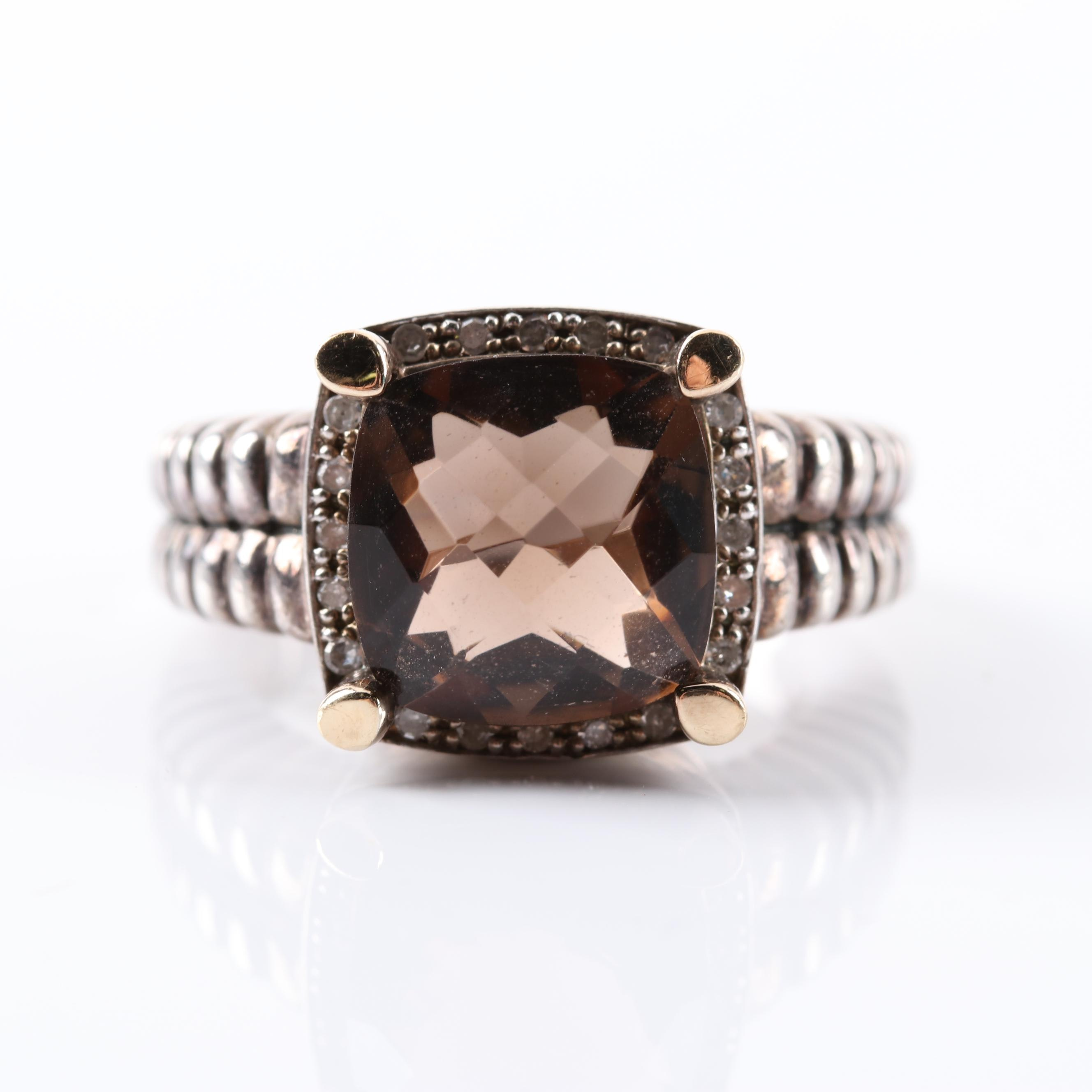 Sterling Silver 3.12 CTW Smoky Quartz and Diamond Ring With 14K Gold Prongs