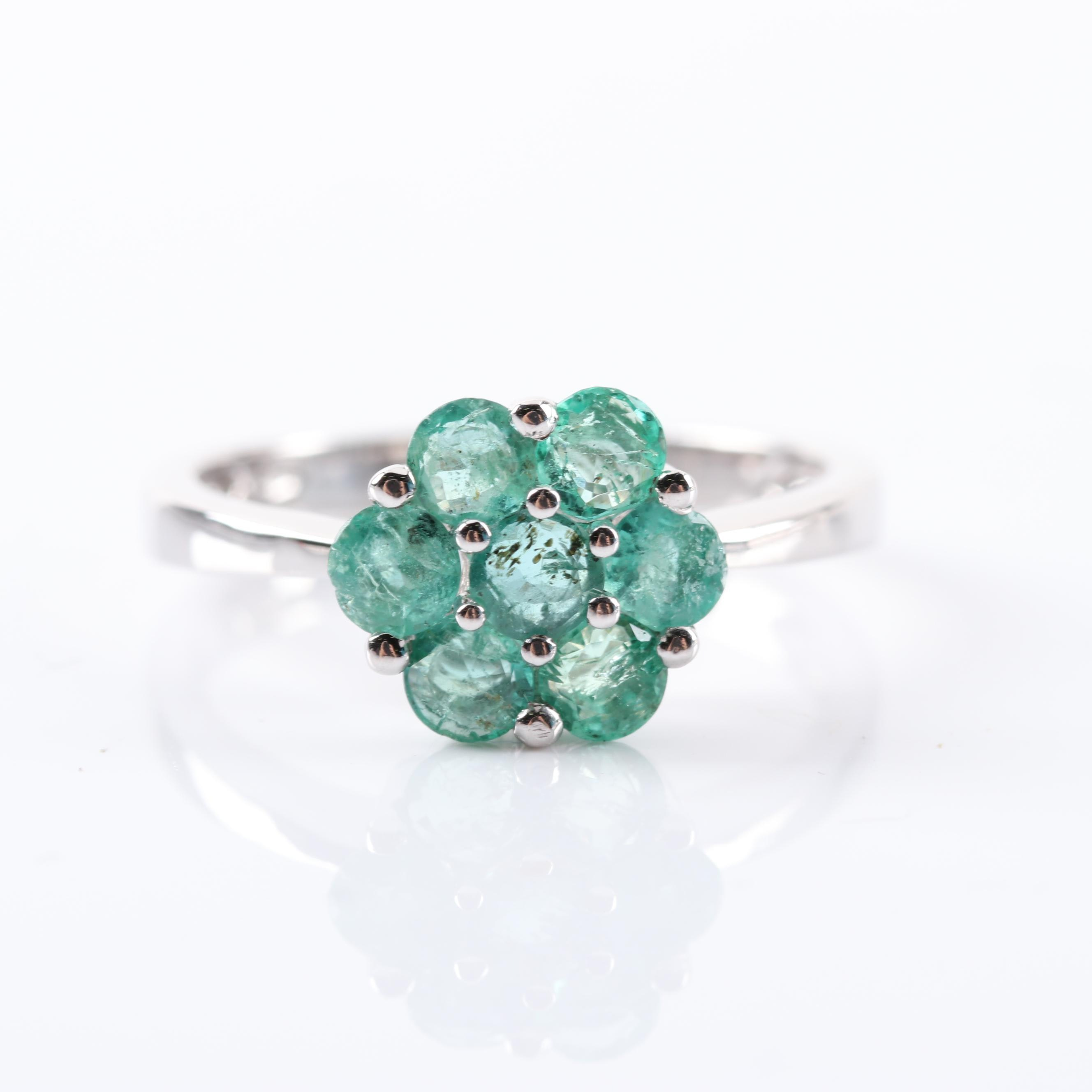 Sterling Silver 1.12 CTW Emerald Flower Ring