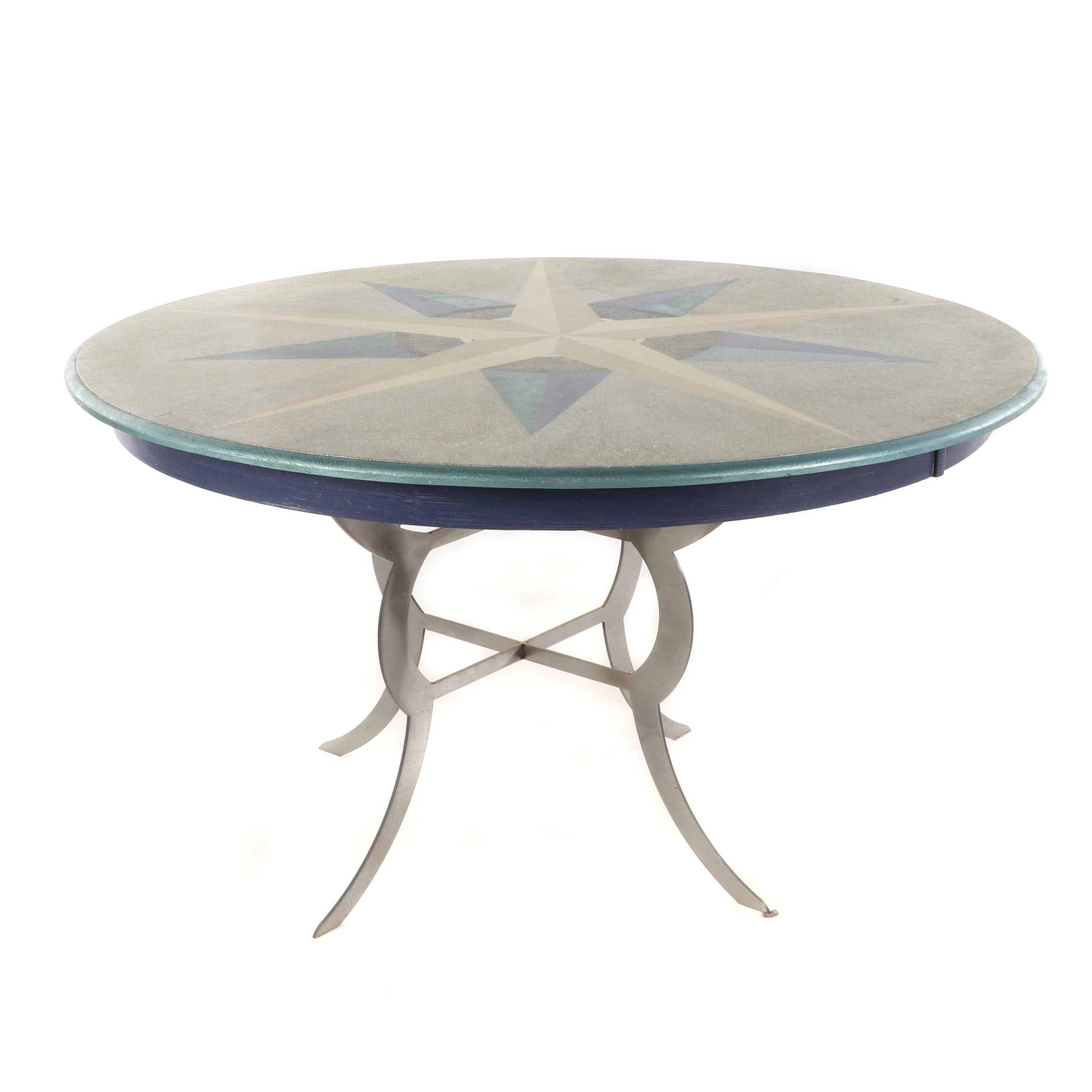 Contemporary Wood and Metal Hand Painted Table