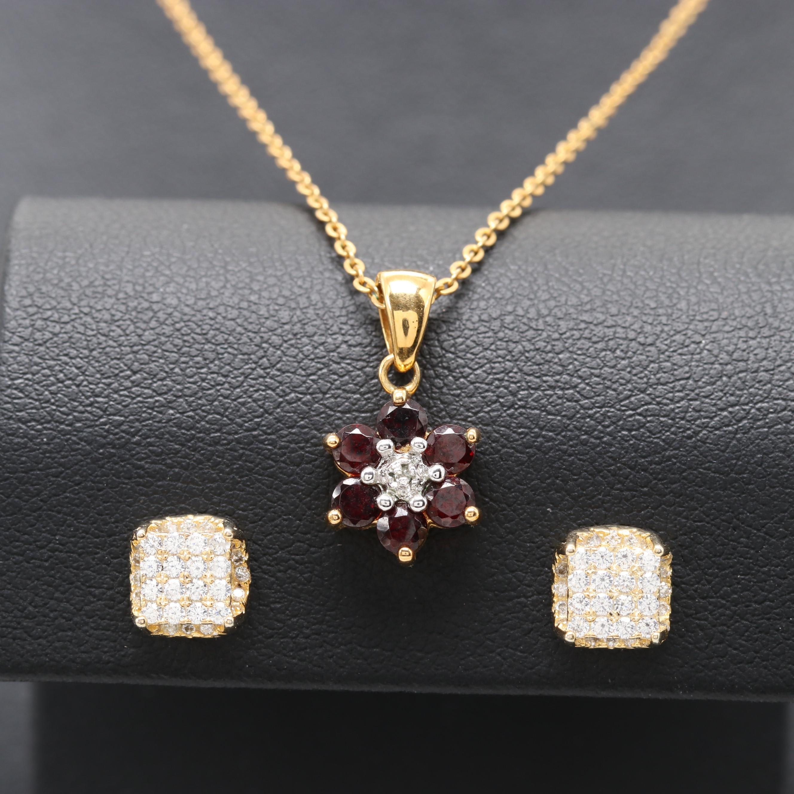 Gold Wash on Sterling Garnet and Diamond Necklace and Cubic Zirconia Earring